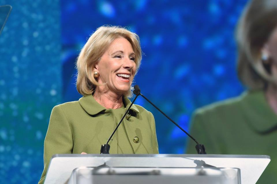 U.S. Secretary of Education Betsy DeVos speks in 2017 at a National Summit on Education Reform meeting in Nashville, Tennessee.