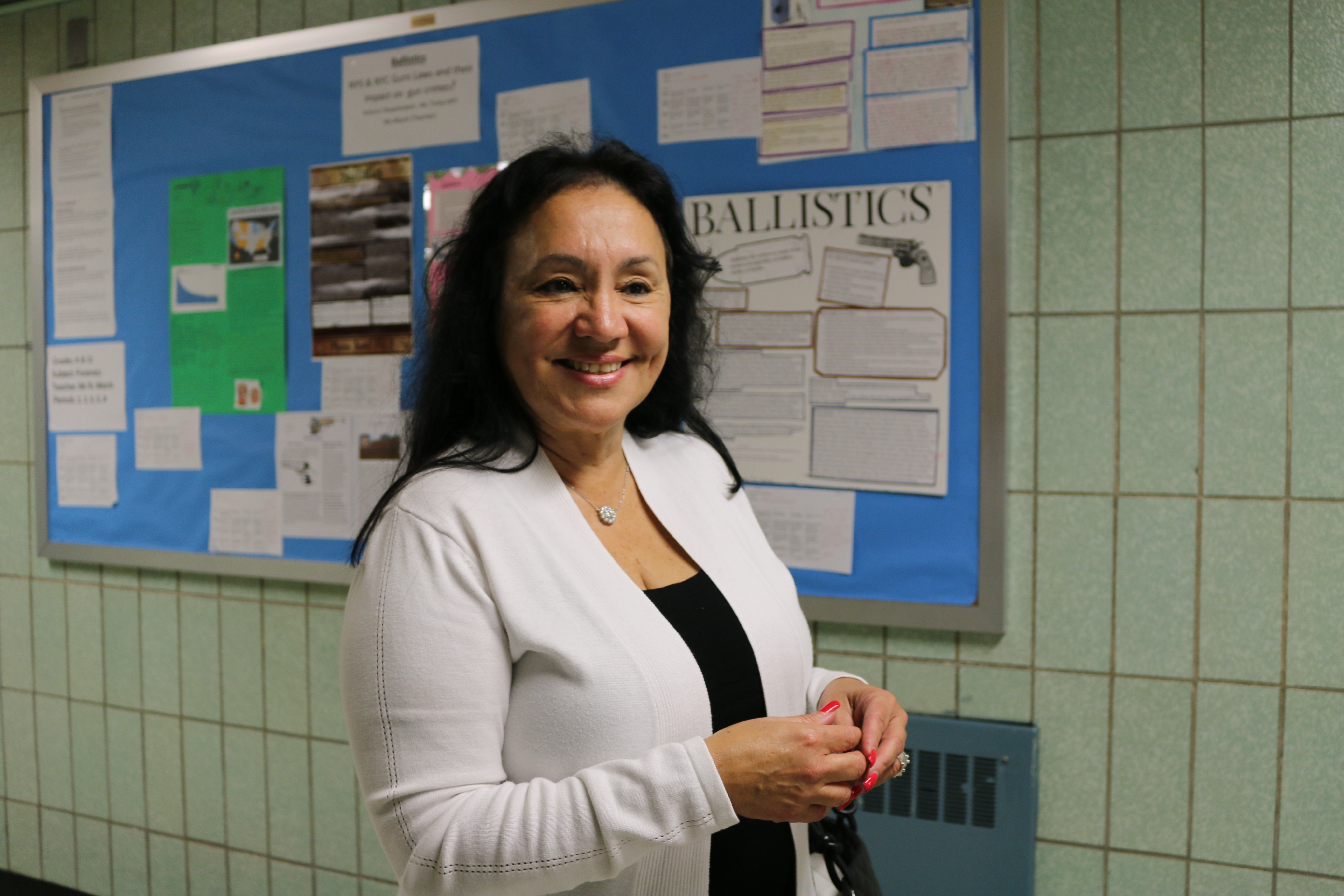 Board of Regents Chancellor Betty Rosa visits Thomas A. Edison Career and Technical Education High School in 2017.