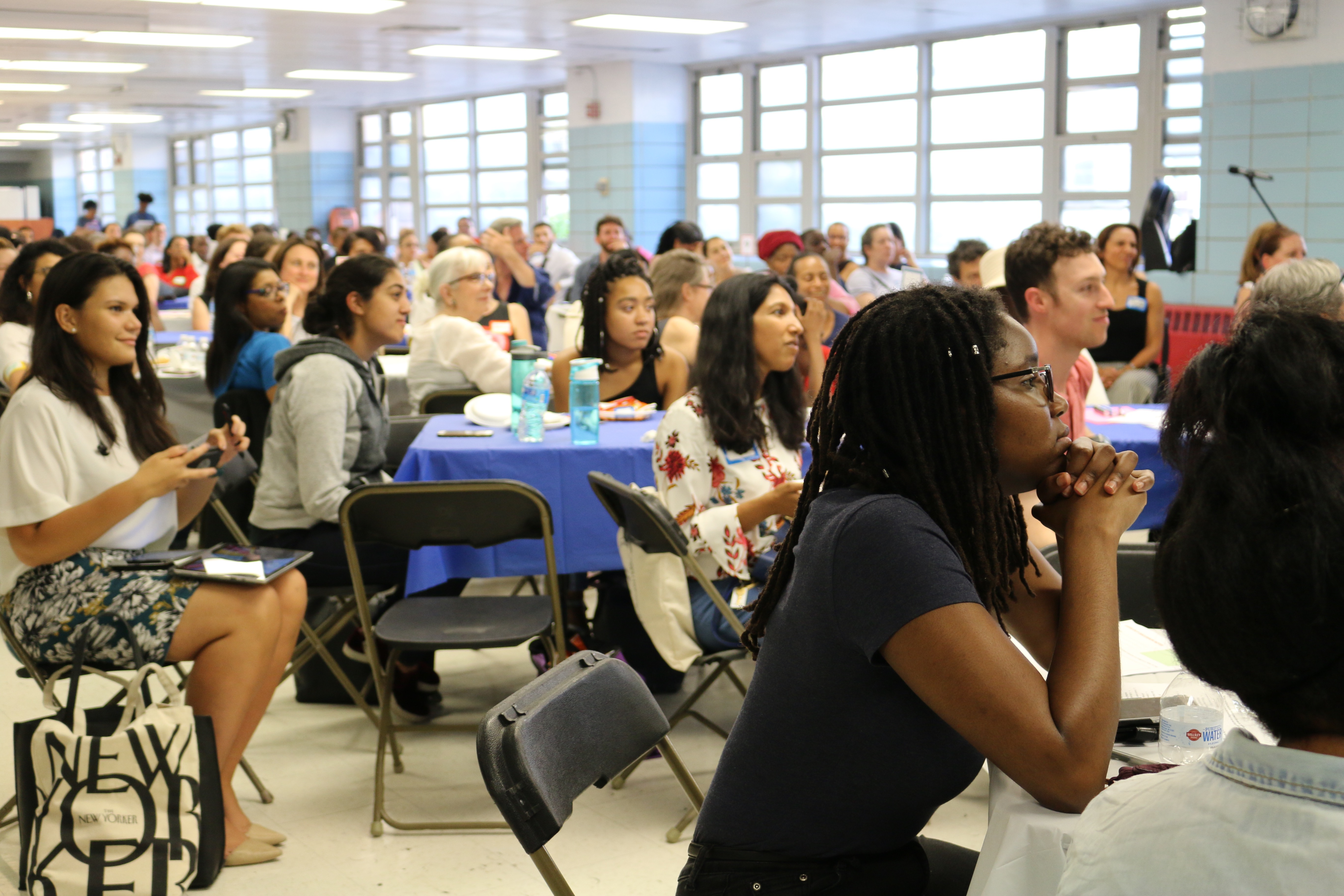 Parents, educators, and integration advocates  gathered in Harlem for a town hall organized by Mayor Bill de Blasio's School Diversity Advisory Group on June 21, 2018.