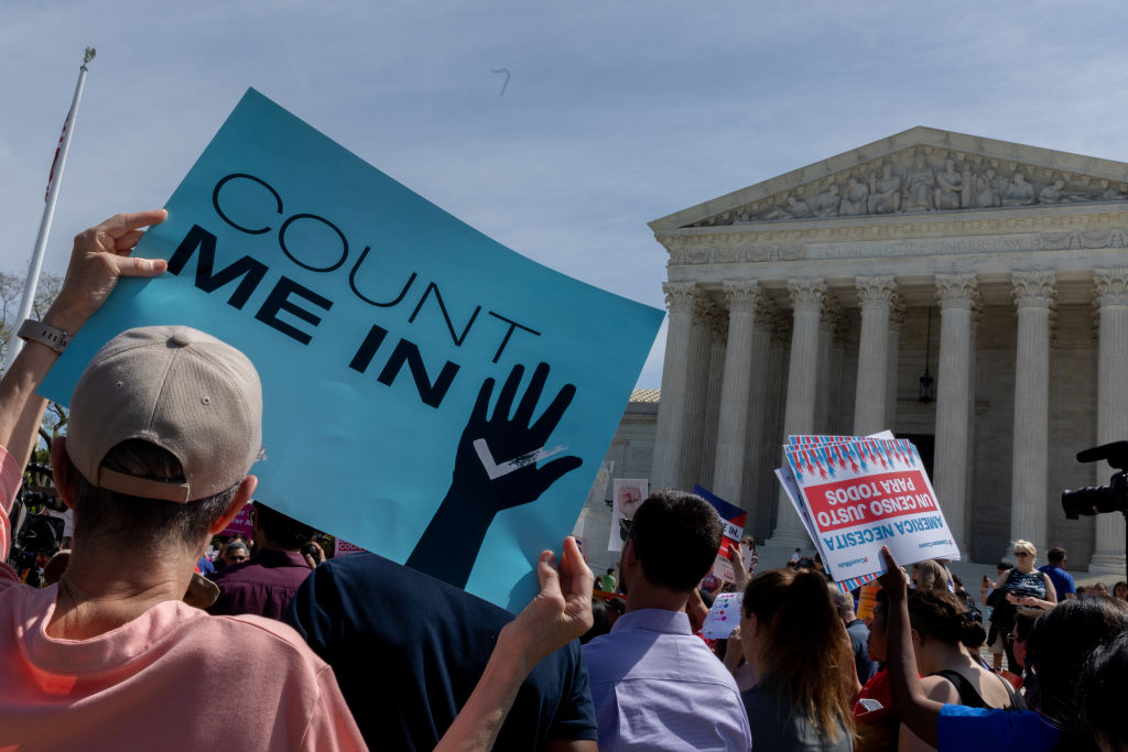 As the Supreme Court justices heard oral arguments over the 2020 census citizenship question, protesters gathered. Tuesday, April 23, 2019, Washington, D.C.  (Photo by Aurora Samperio/NurPhoto via Getty Images)