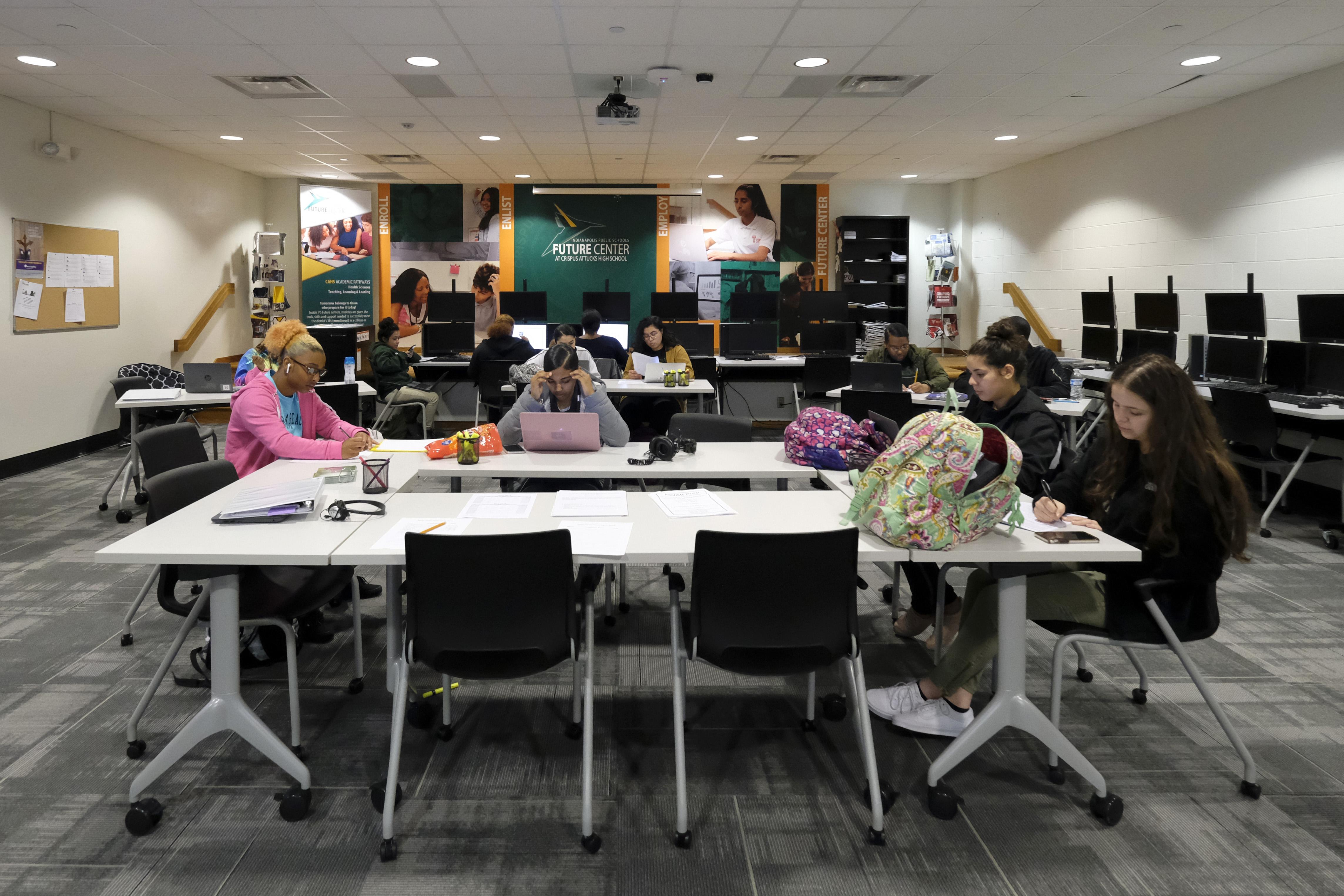 Students in a classroom at Crispus Attucks High School.