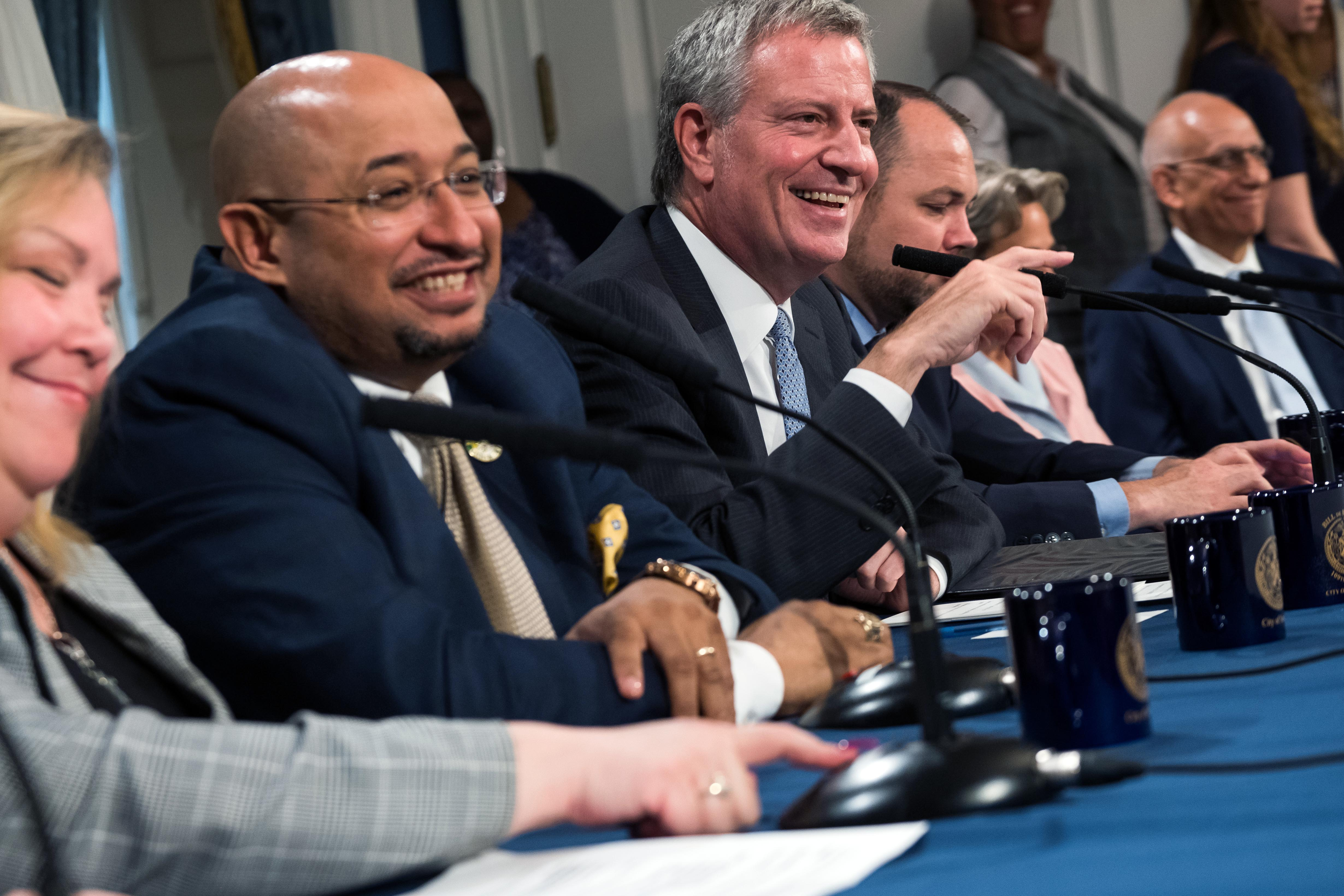 Labor leaders and Mayor Bill de Blasio on Tuesday announced a deal to boost pay for some pre-K teachers.