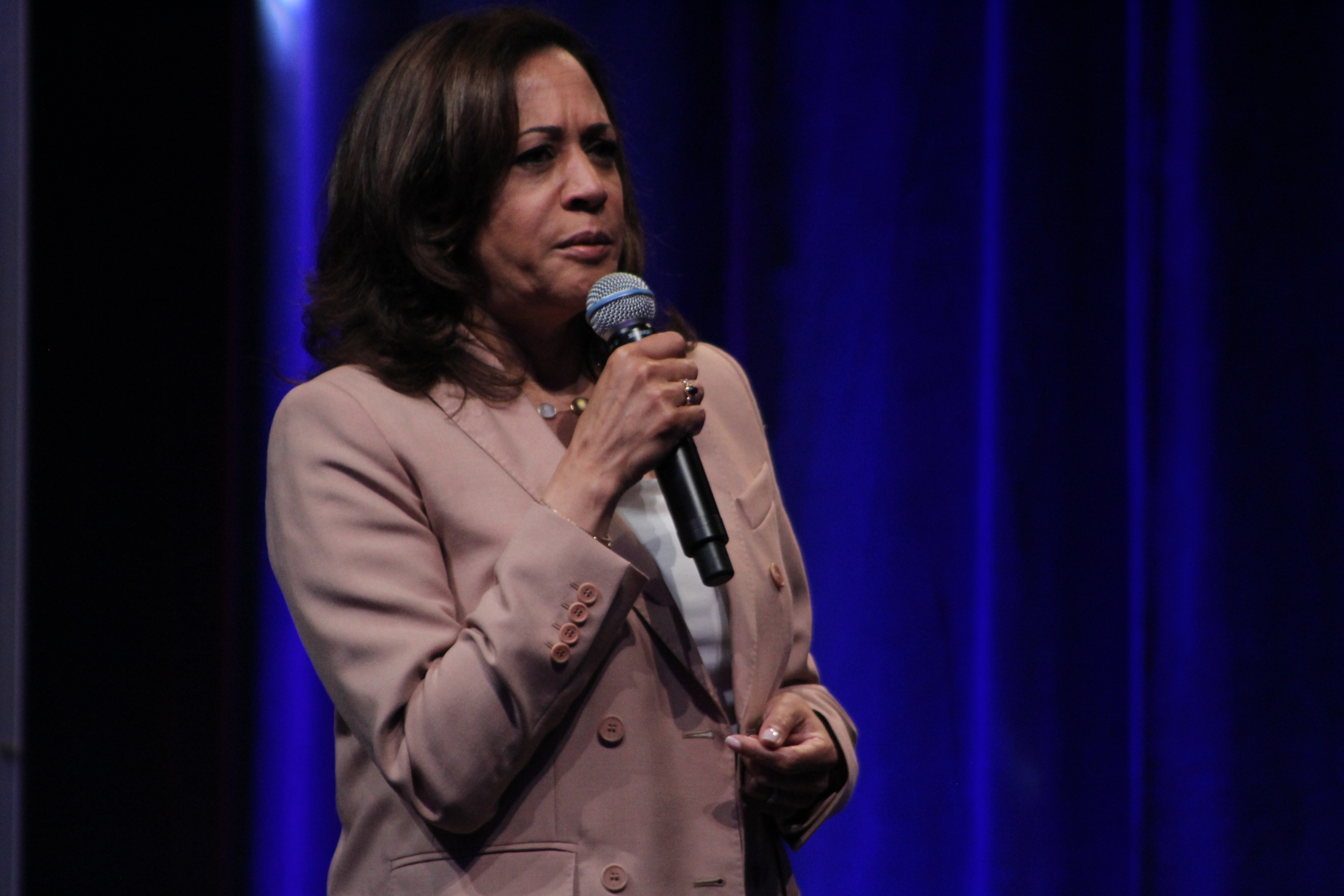 U.S. Sen. Kamala Harris speaks at a forum for Democratic presidential candidates Friday as part of the National Urban League's annual conference.
