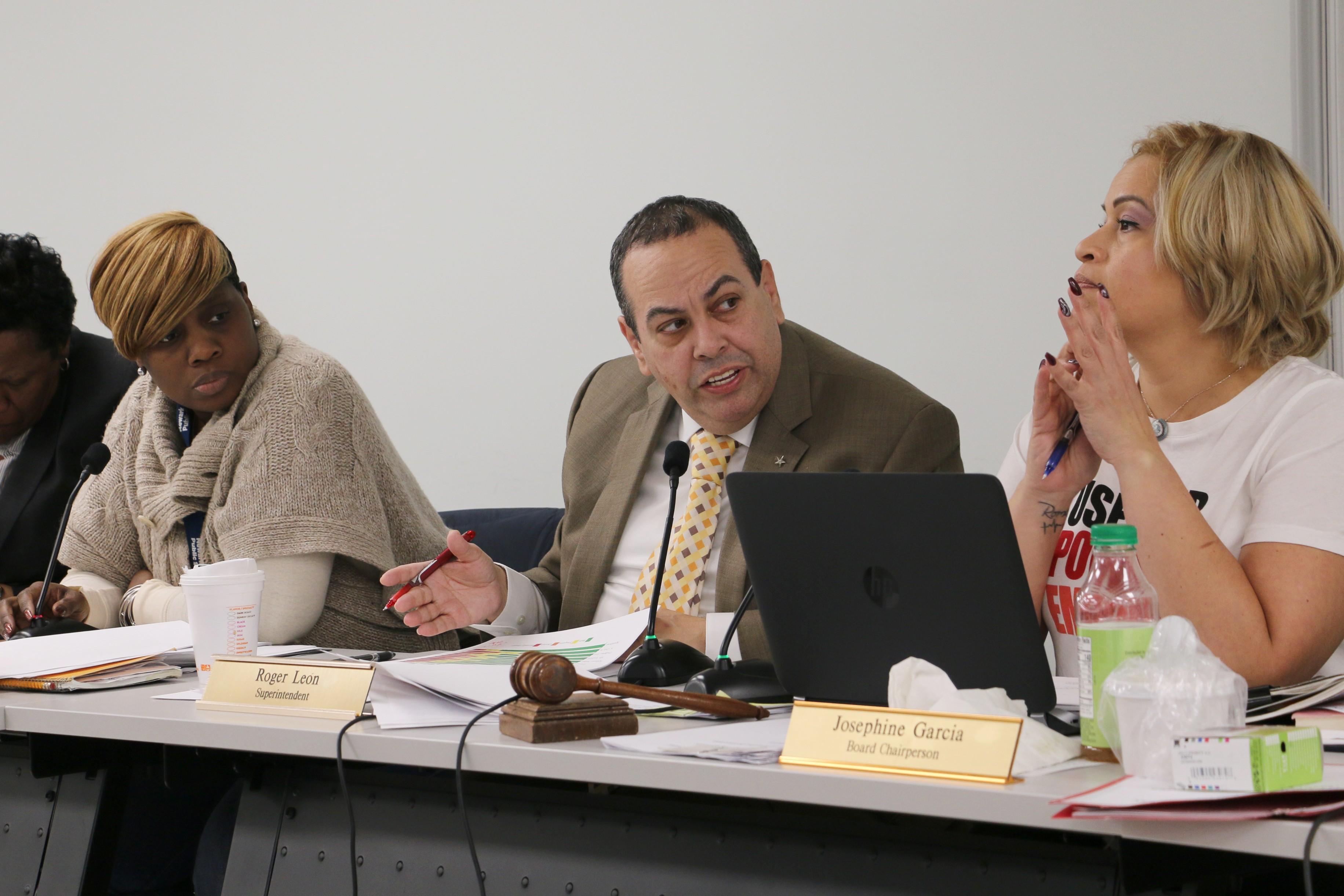 León at a school board meeting in November 2018.