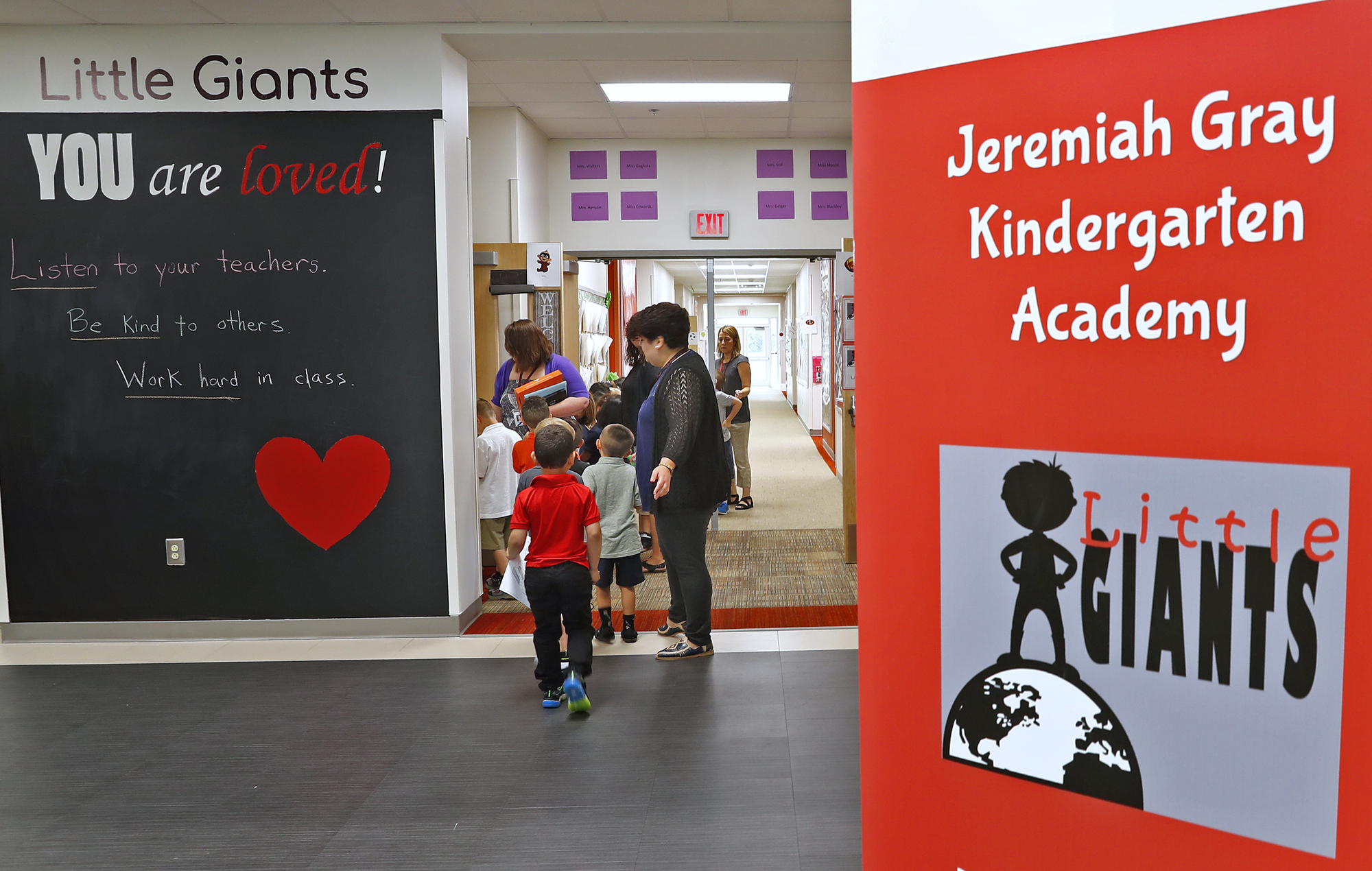 Positive messages greet students at Jeremiah Gray Kindergarten Academy, Friday, August 2, 2019.