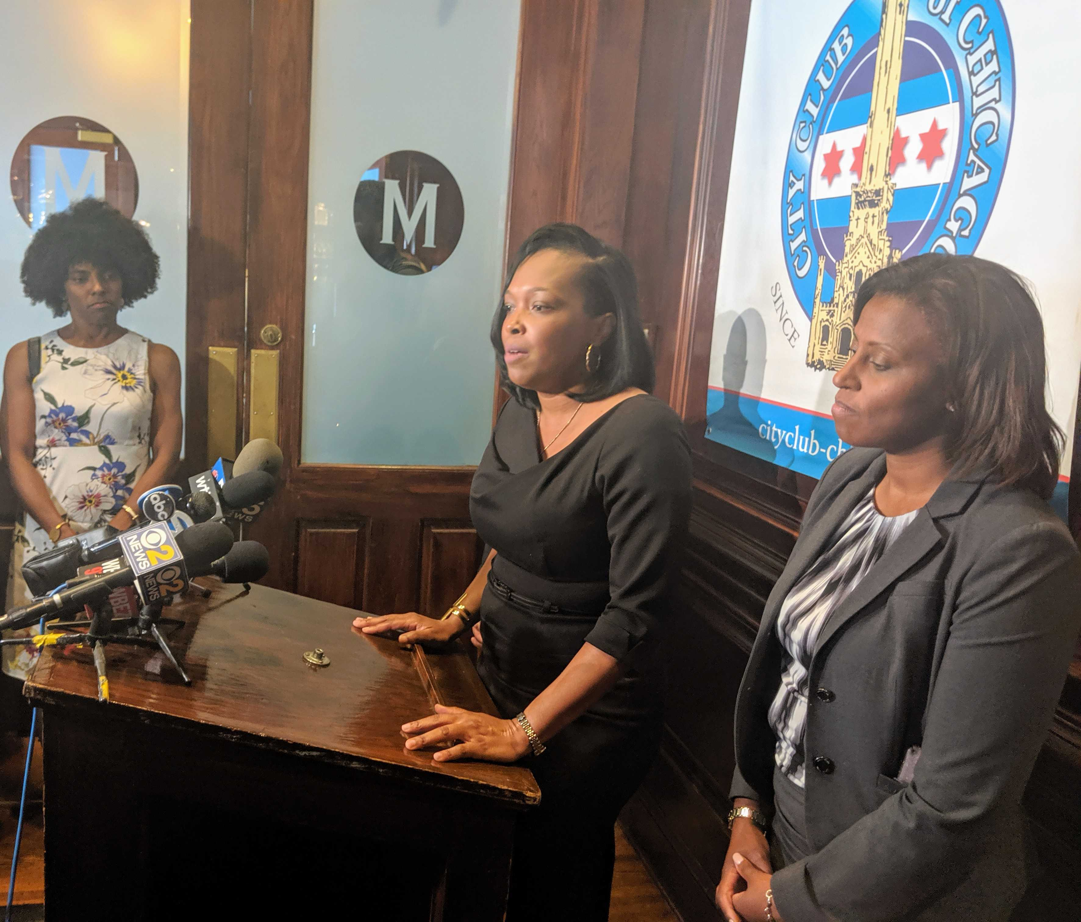 Schools CEO Janice Jackson speaks after a City Club of Chicago event Thursday. Deputy Mayor for Education and Human Services Sybil Madison is to her left, and the district's Chief Academic Officer LaTanya McDade stands to her right.