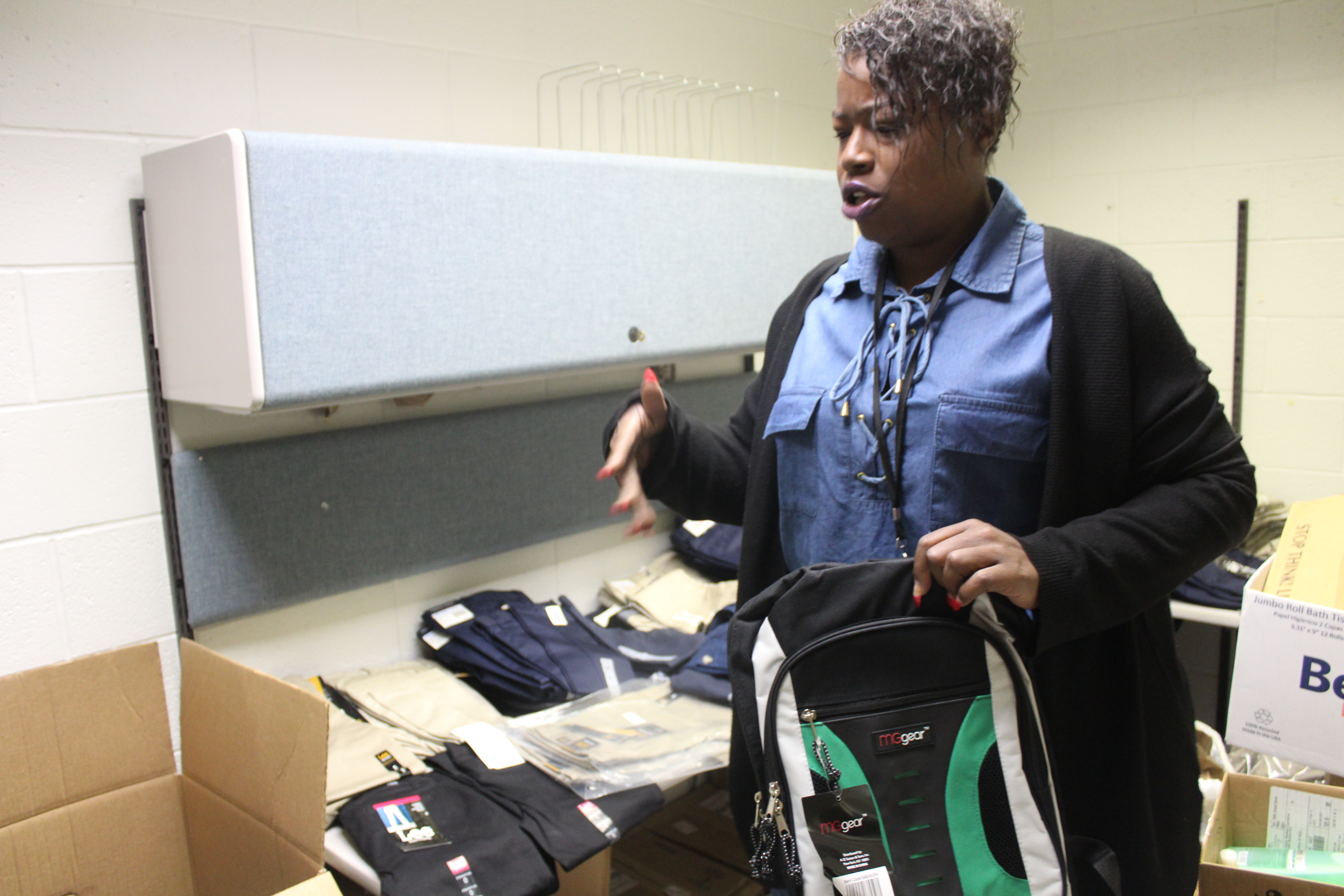 Charie Gibson, the McKinney-Vento liaison for Indianapolis Public Schools, talks about her role in serving homeless students while gathering supplies for a family.