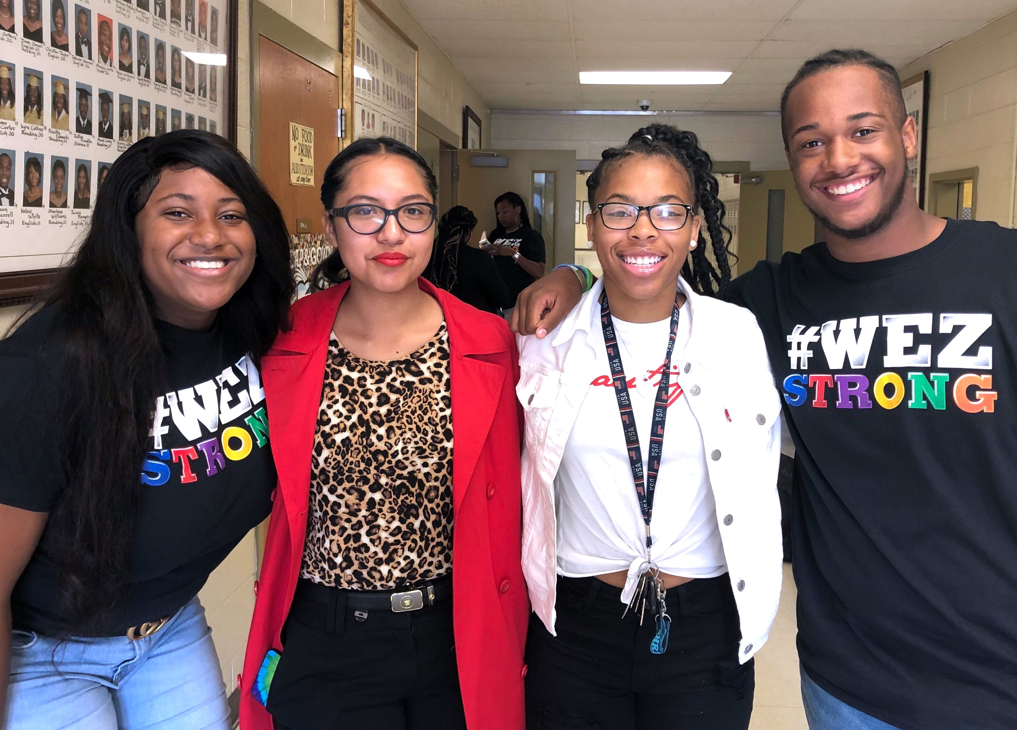 Whitehaven High School students from left, Kanah Myers, Angeles Rosales, Se'Quoia Allmond, and Keith Newsum.