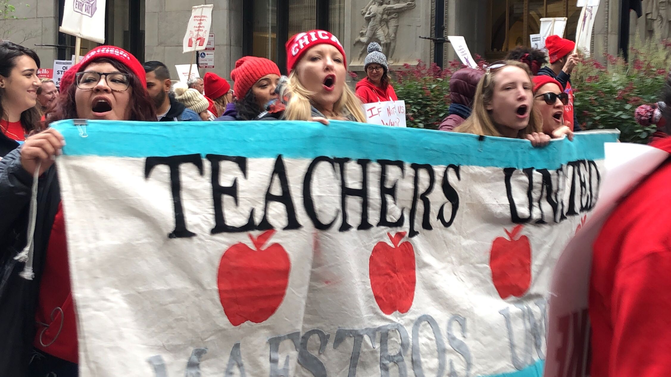 Chicago teachers rallied downtown on Oct. 18 on the second day of a citywide strike of teachers and support staff.