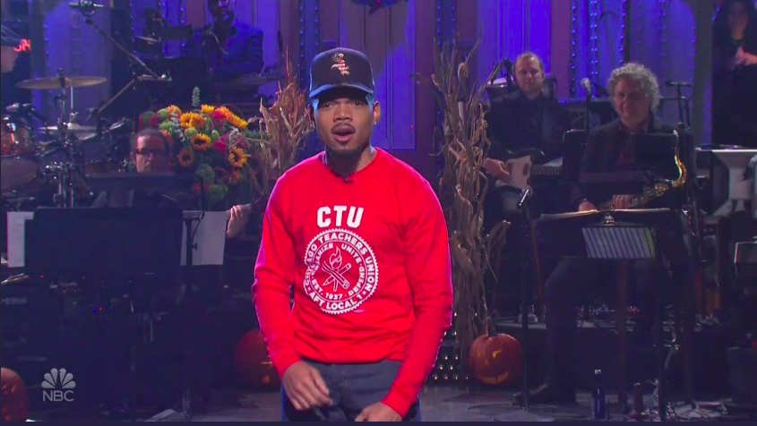 As negotiations wore into the night Saturday, homegrown hip-hop star Chance the Rapper wore a Chicago Teachers Union sweatshirt to host  Saturday Night Live.