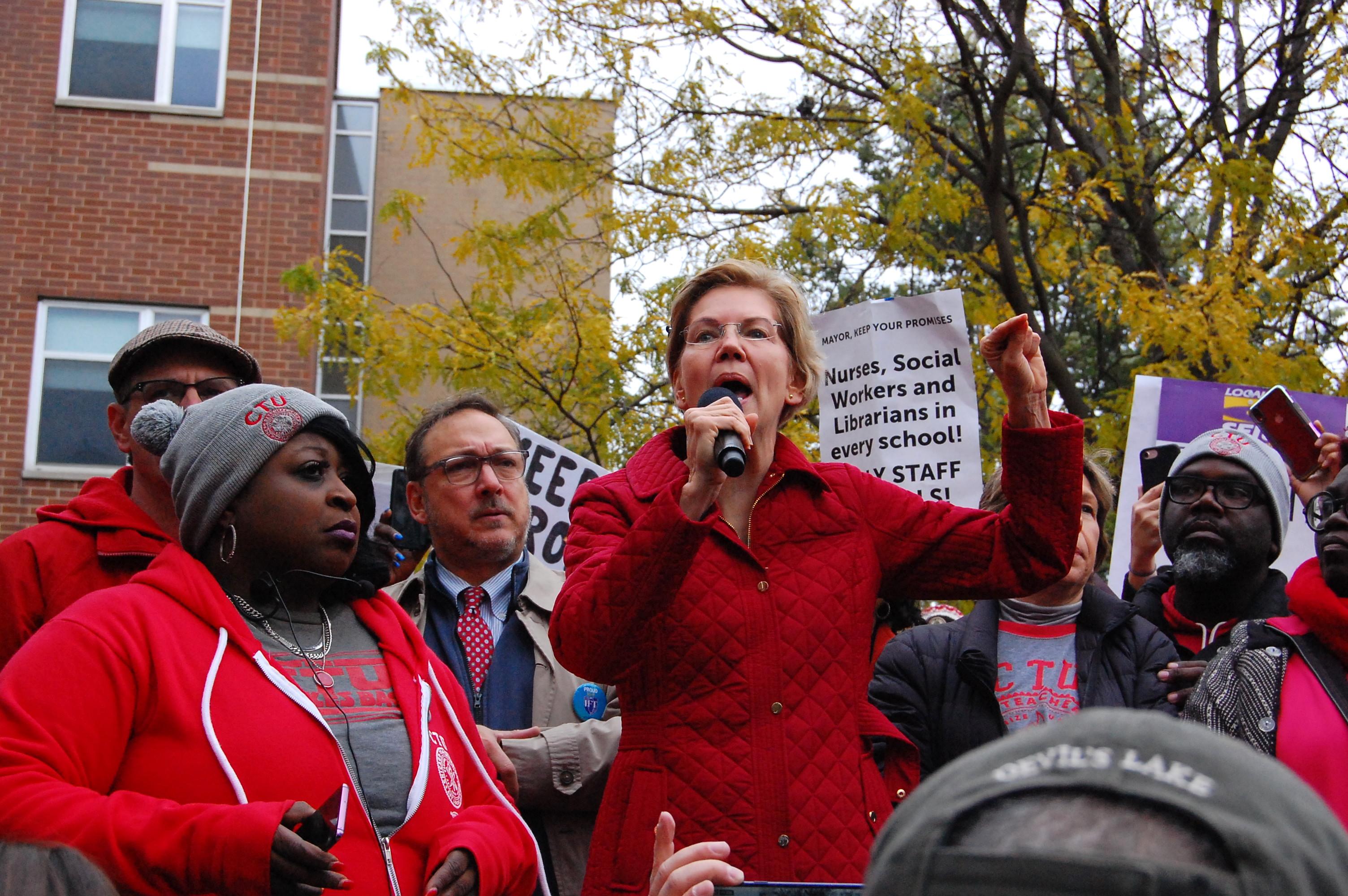 Democratic presidential candidate U.S. Sen. Elizabeth Warren addresses striking Chicago teachers Oct. 22, 2019.
