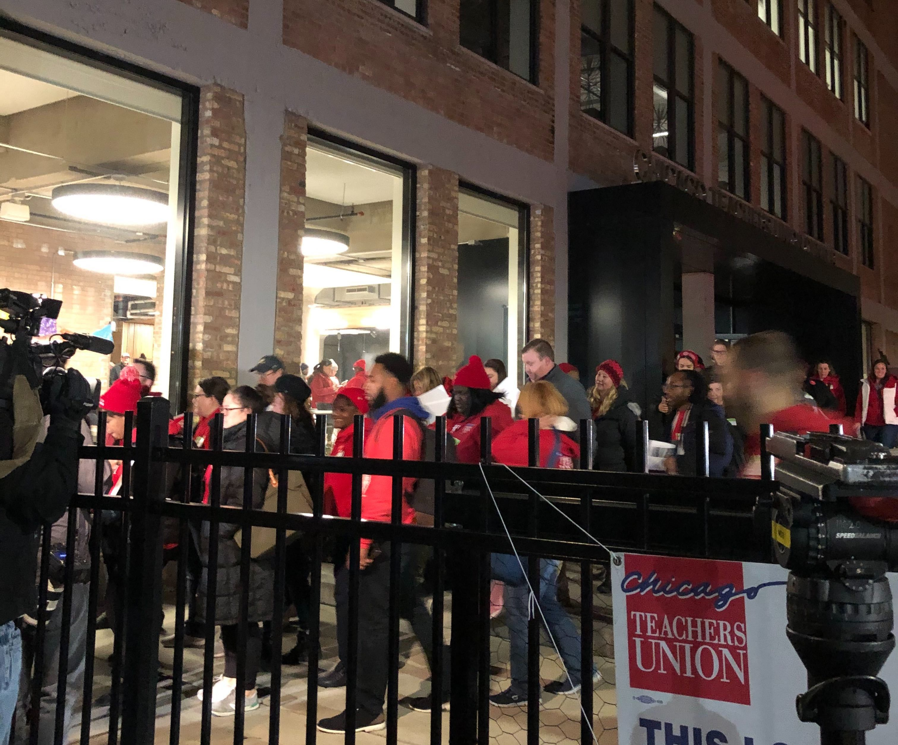 Chicago Teachers Union delegates leave a House of Delegates meeting on Oct. 29, 2019, the ninth day of the Chicago teachers strike.