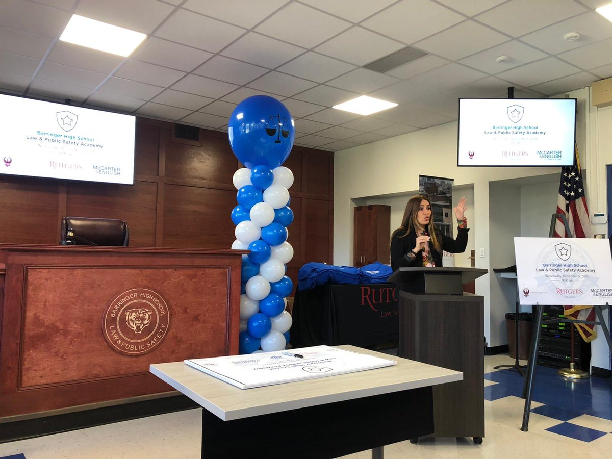 New Jersey State Sen. Teresa Ruiz spoke at the dedication of Barringer High School's new law academy, which features a judge's box built by carpentry students.