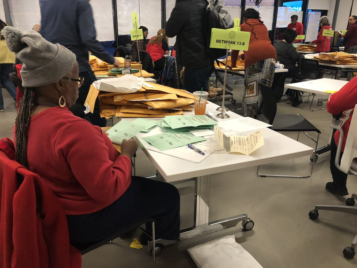Counting the votes on the compromise agreement at Chicago Teachers Union headquarters.