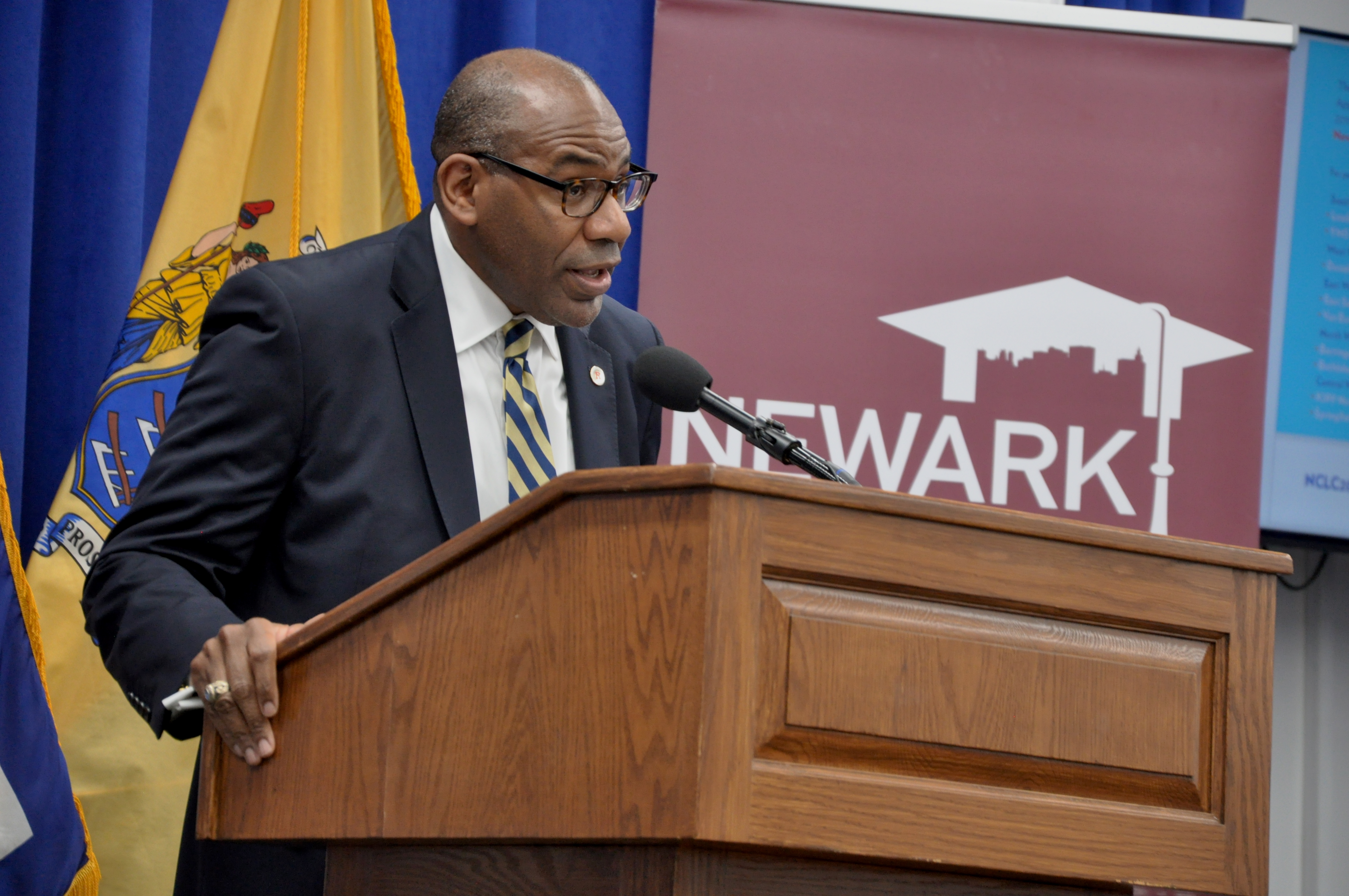 Reginald Lewis, executive director of the Newark City of Learning Collaborative, announces the launch of the campaign on Thursday at City Hall.