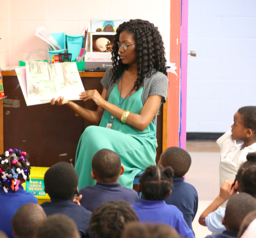 A teacher leads a reading class at Gardenview Elementary in Memphis.