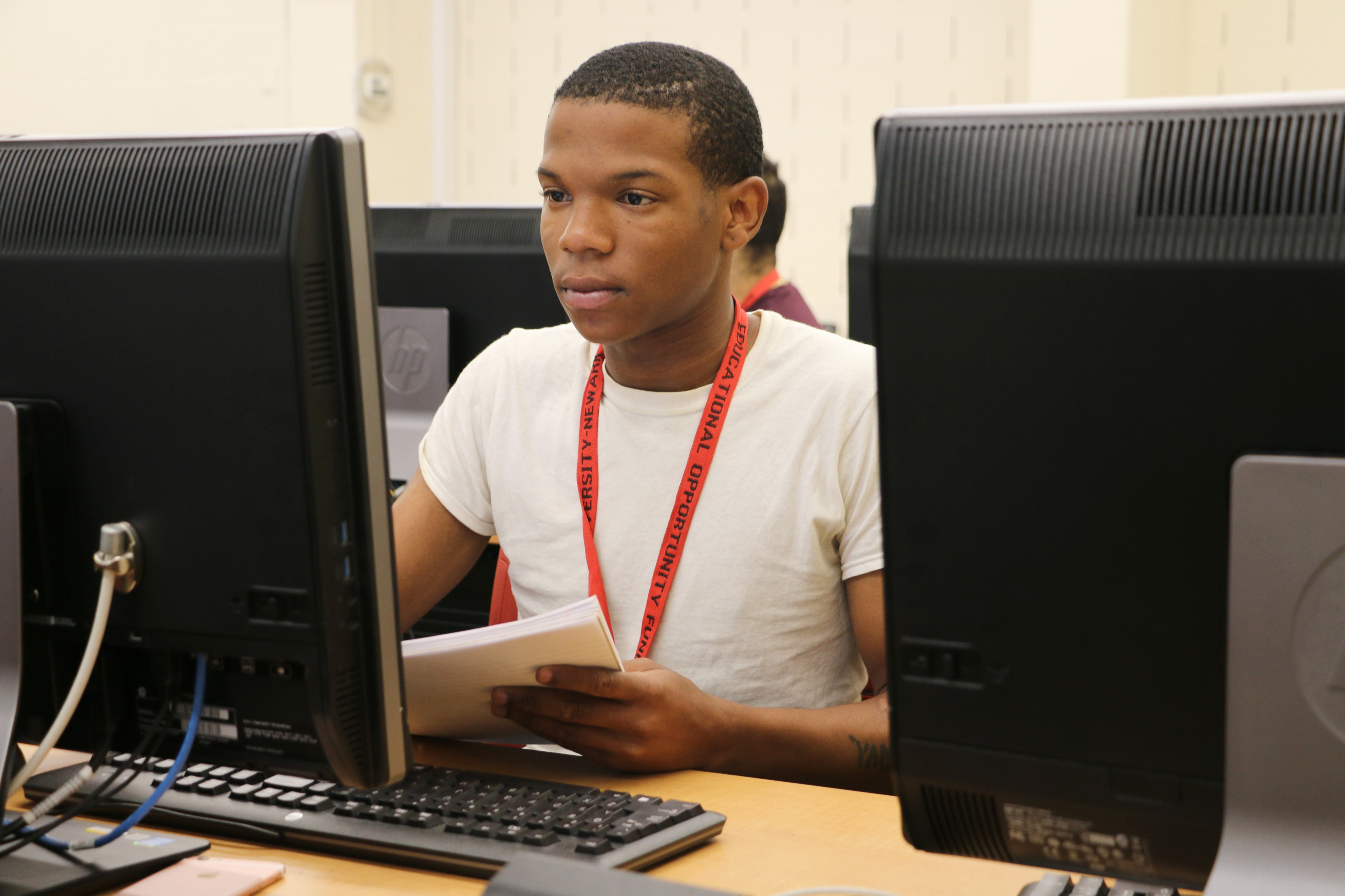 """Yamin Reddick in a summer math class at Rutgers University-Newark. He had to pass his summer classes in order to begin as a freshman this fall. """"This is going to be on me,"""" he said."""