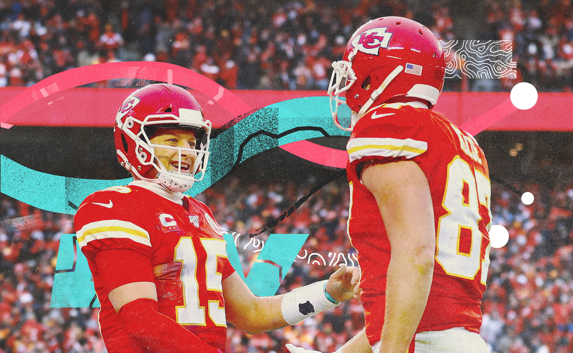 Chiefs QB Patrick Mahomes smiles at tight end Travis Kelce, superimposed on background with pink, teal, white lines
