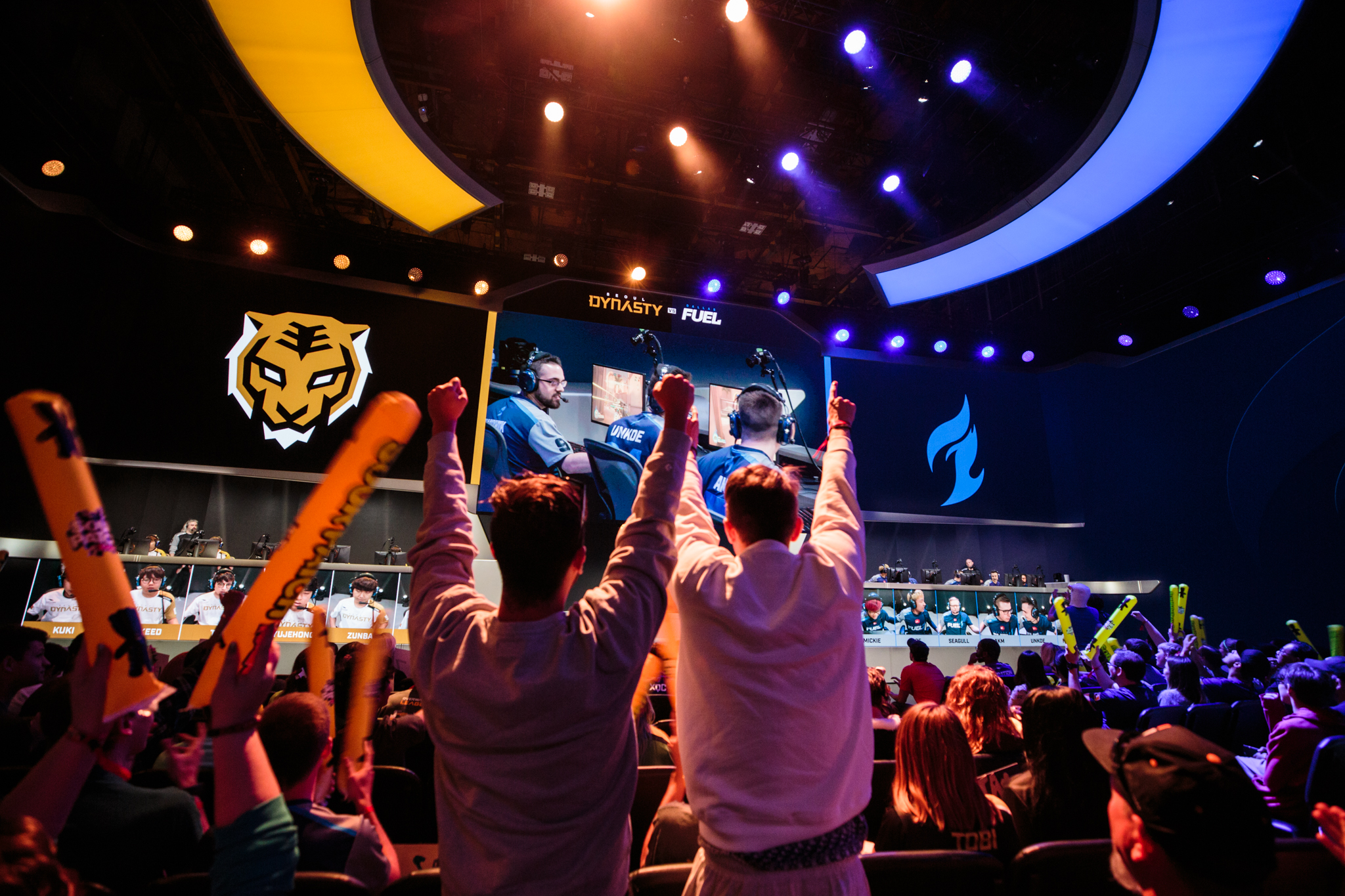 Overwatch League - fans cheer at the Blizzard Arena during a match between the Dallas Fuel and Seoul Dynasty