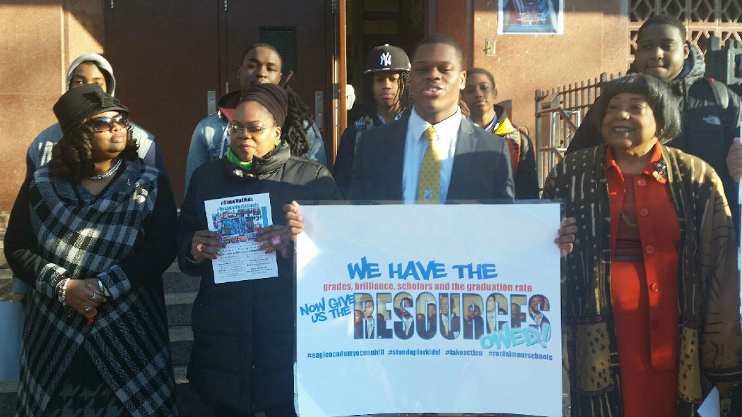 A morning rally in front of Eagle Academy for Young Men II in Brooklyn. Photo courtesy of Alliance for Quality Education.