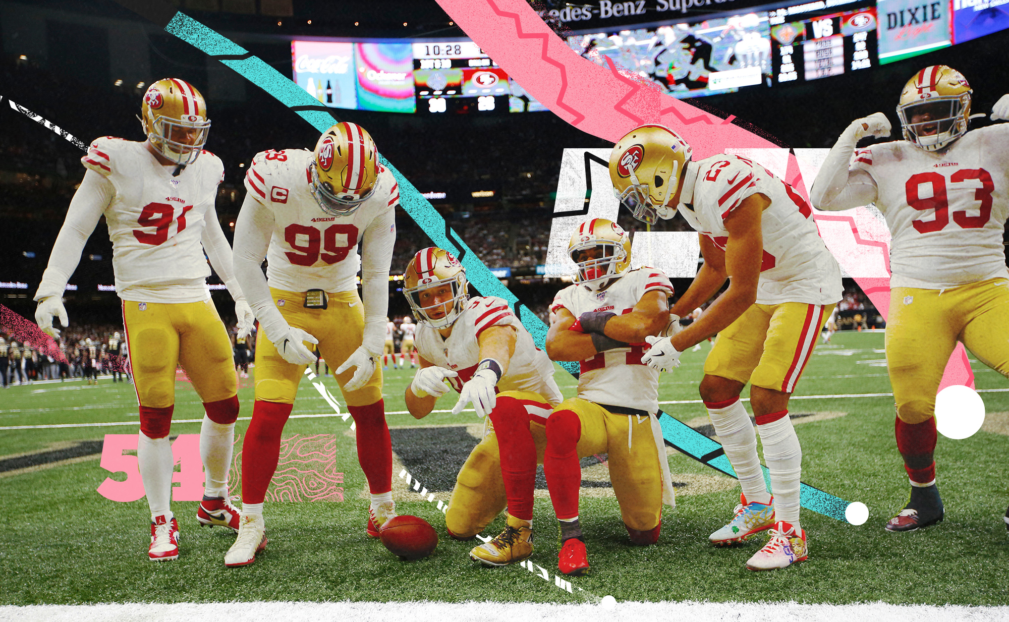 Members of the 49ers defense, including pass rushers Nick Bosa and DeForest Buckner, pose for the camera, with pink, teal, white lines in the background