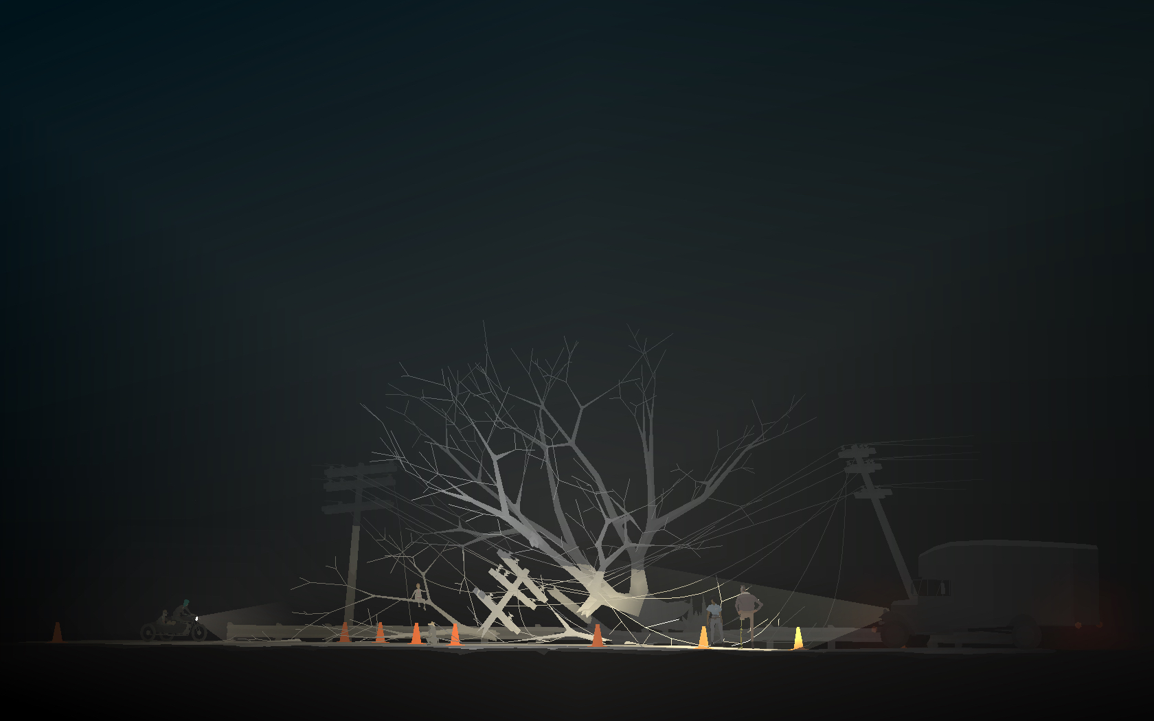 characters stare at a downed tree at night in Kentucky Route Zero
