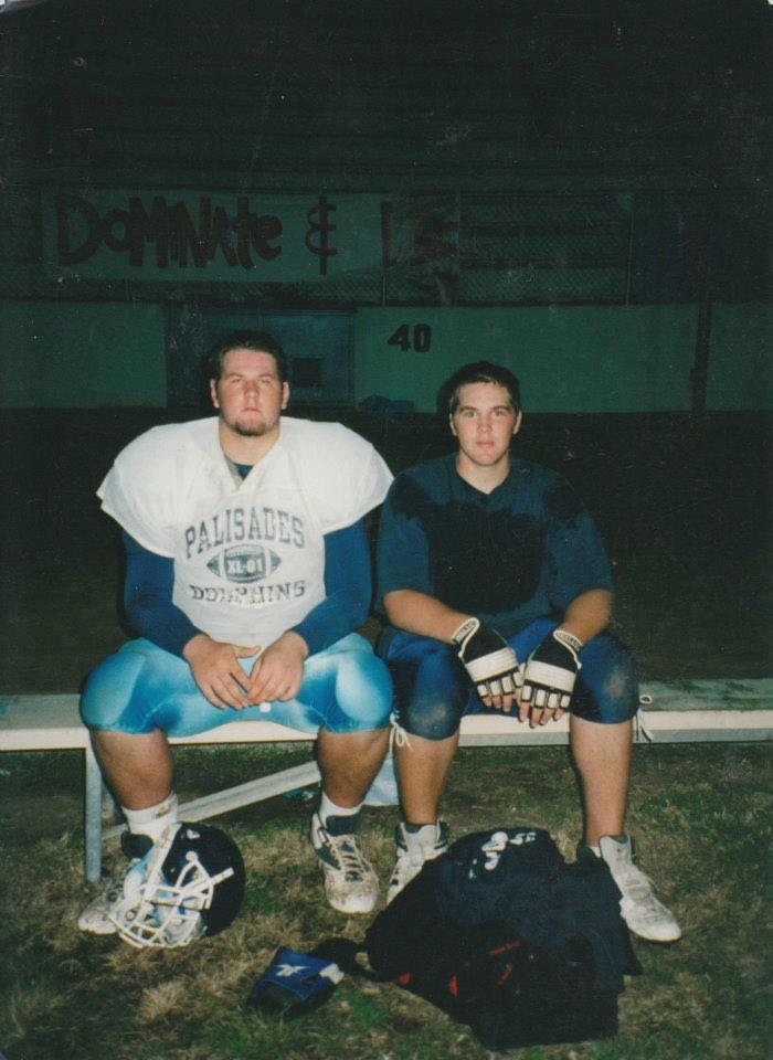 A high school photo of OL Geoff Schwartz and his brother Mitchell, wearing football uniforms