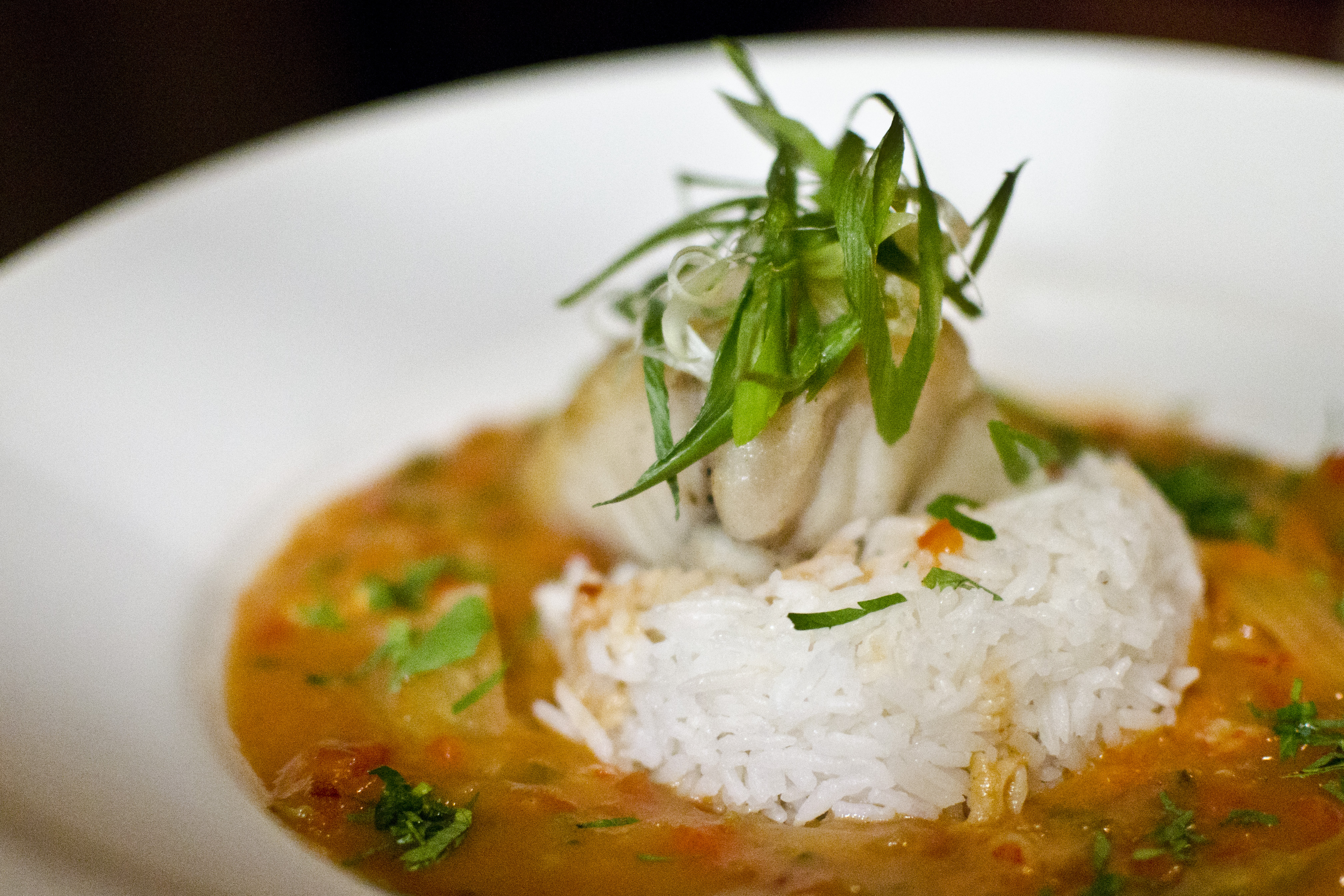 A filet of fish sits on white rice in a red broth, served on a white plate