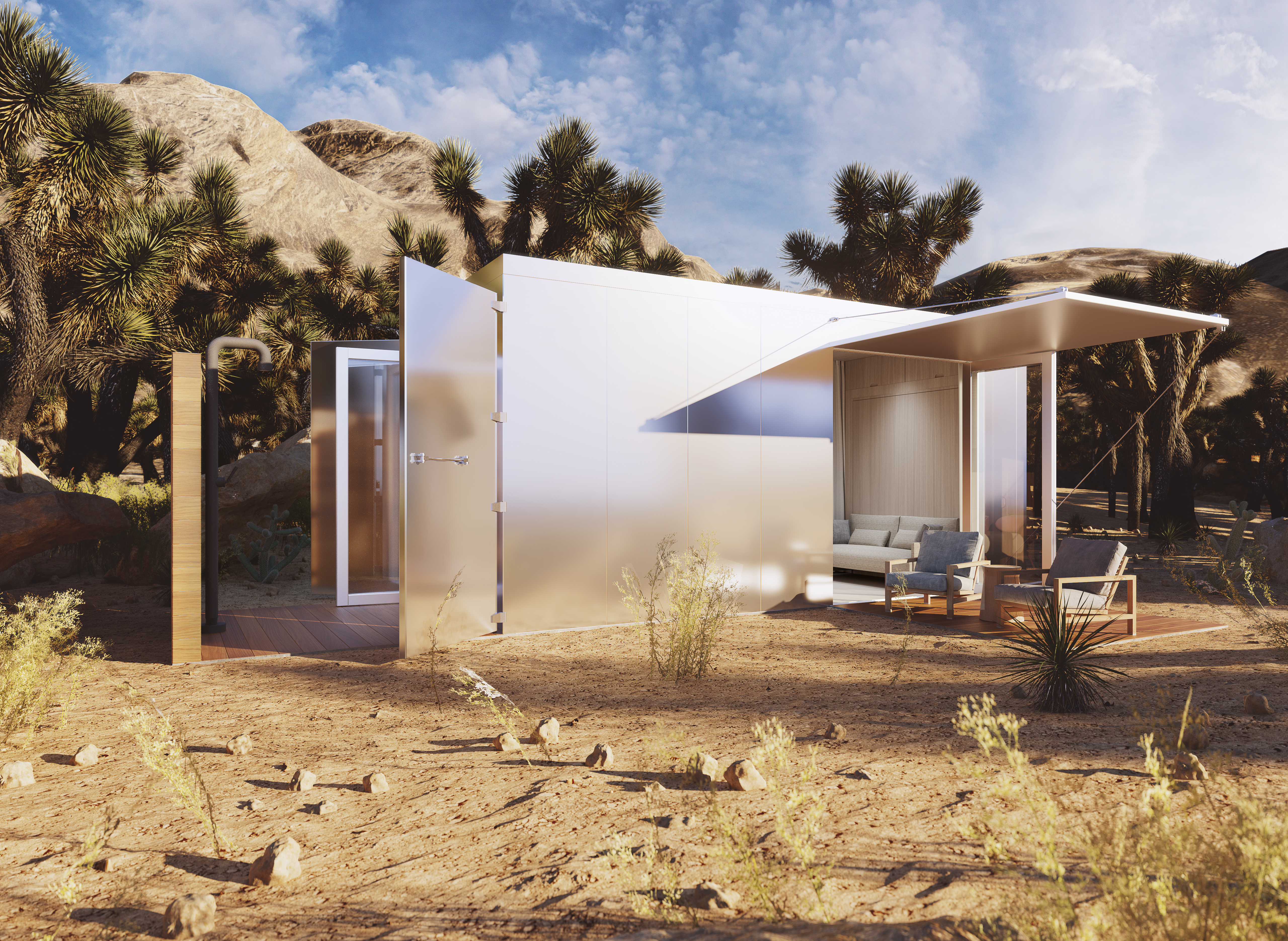 A luxury shipping container home designed for fire-prone areas