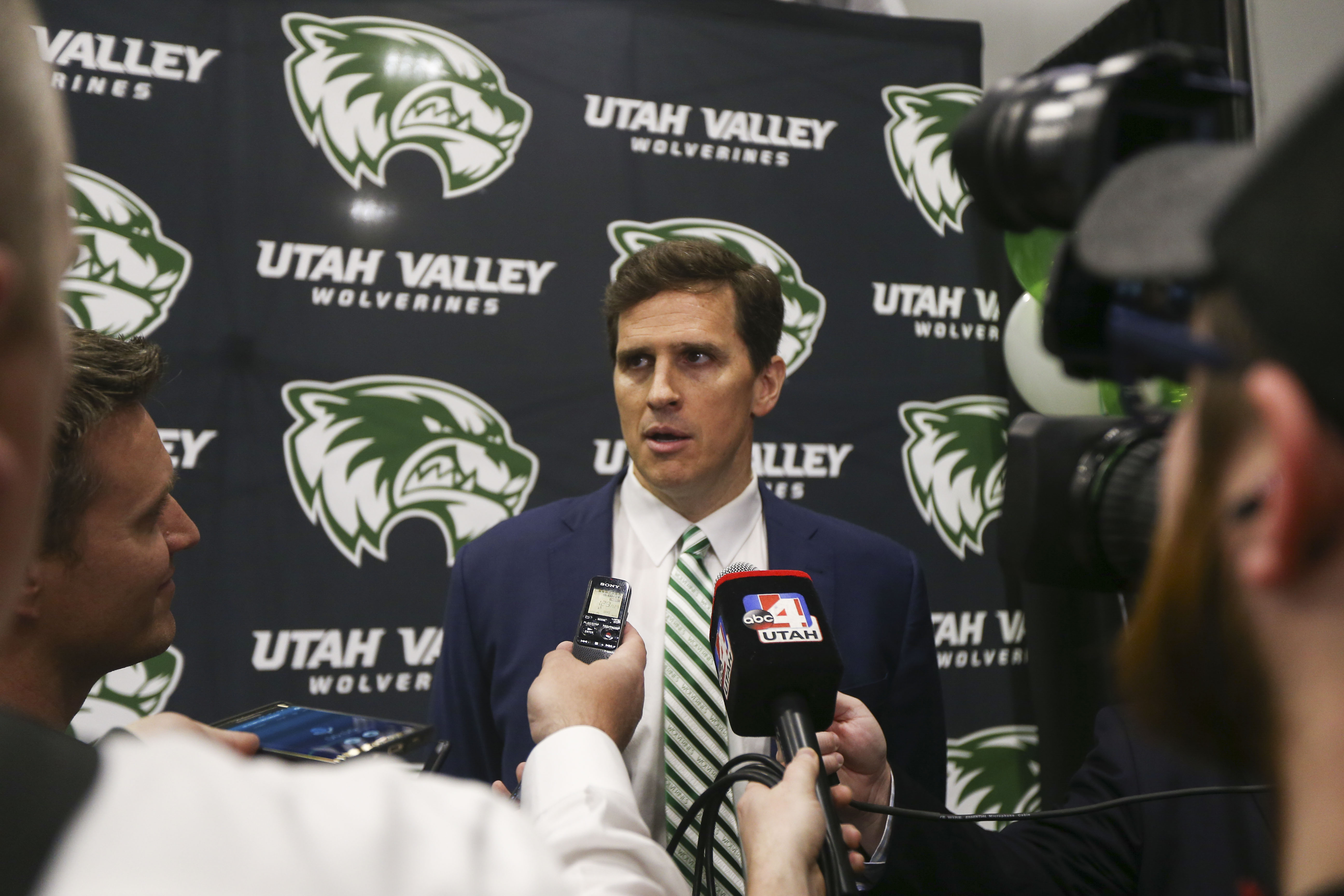 Mark Madsen speaks as Utah Valley's new men's basketball coach at the NUVI Basketball Center at Utah Valley University in Orem on Monday, April 15, 2019.