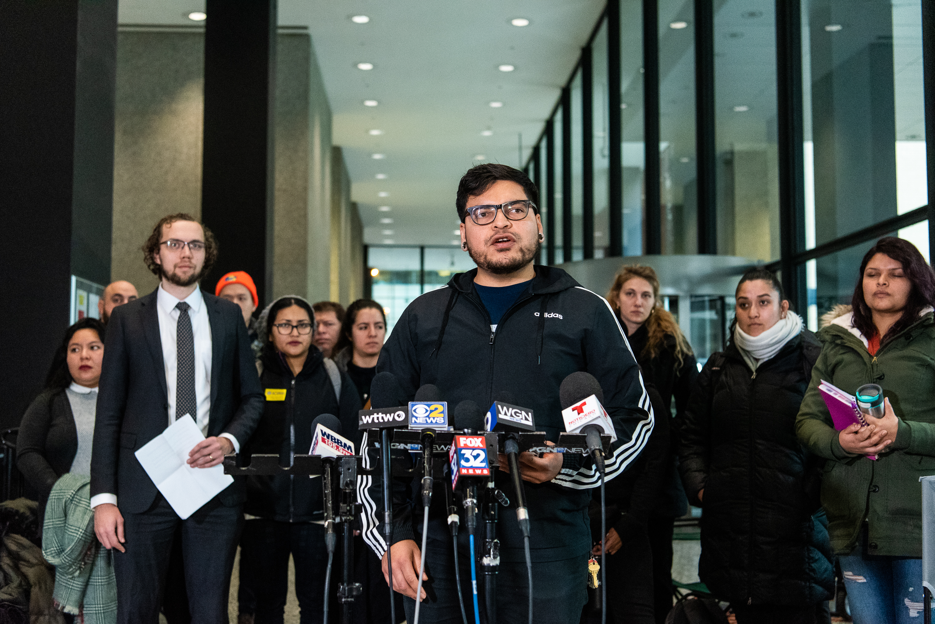 Miguel Lopez, speaks to members of the media about his younger brother Jesus Alberto Lopez Gutierrez, who faces deportation. Tuesday, Jan. 28, 2020, in Chicago.