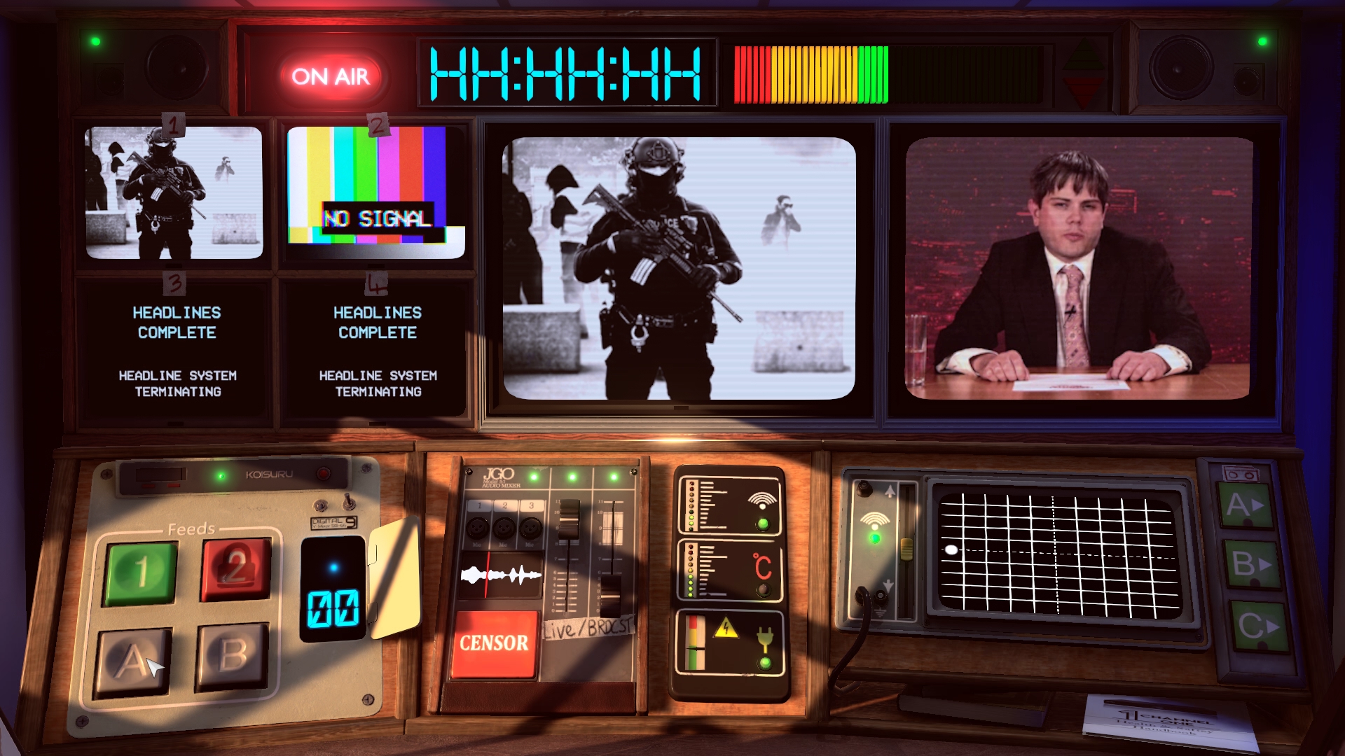Not For Broadcast - a shot of the control panel, broadcasting a news segment about the police