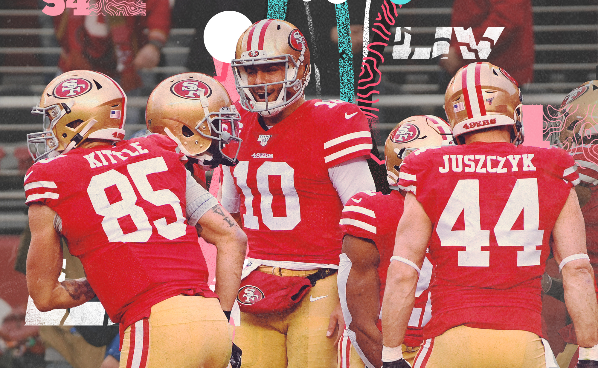 49ers offensive players huddle, including QB Jimmy Garoppolo, TE George Kittle, and FB Kyle Juszczyk, with pink, teal, and white lines in the background