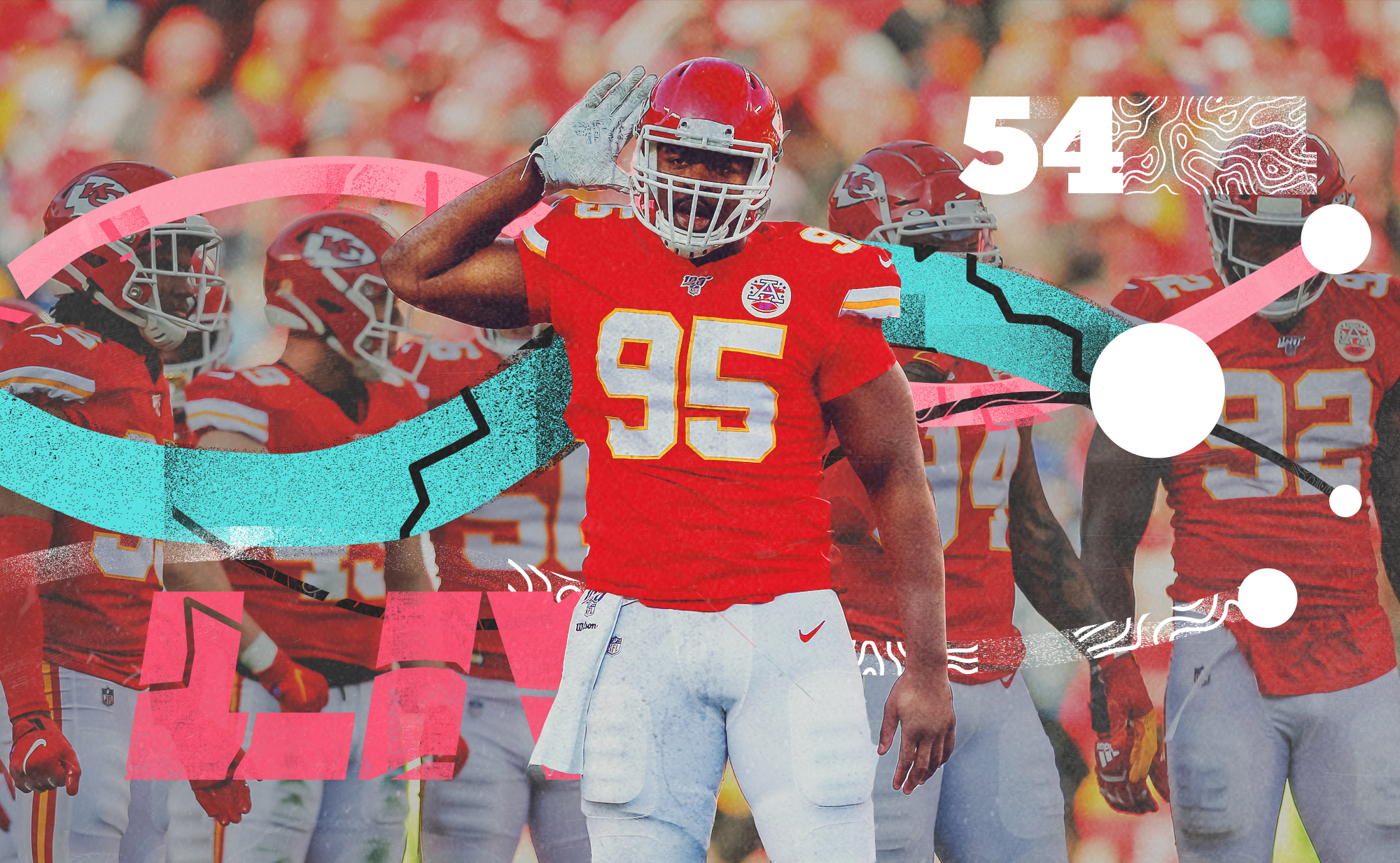 Chiefs DL Chris Jones holds his hand up to his ear, with 5 teammates behind in, superimposed on a background with pink, teal, and white lines and the number 54