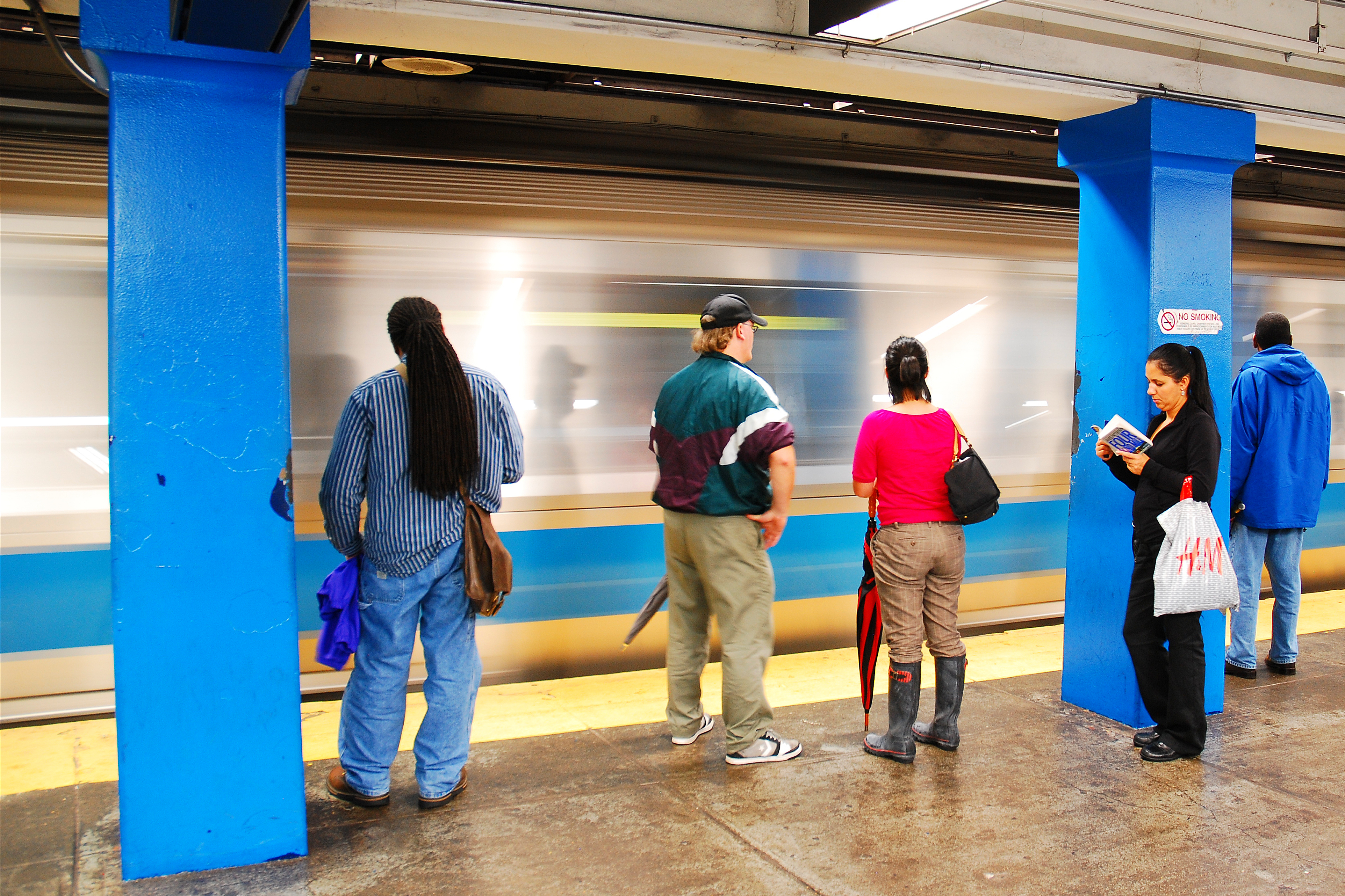 Commuters waiting for the Blue Line in Boston.
