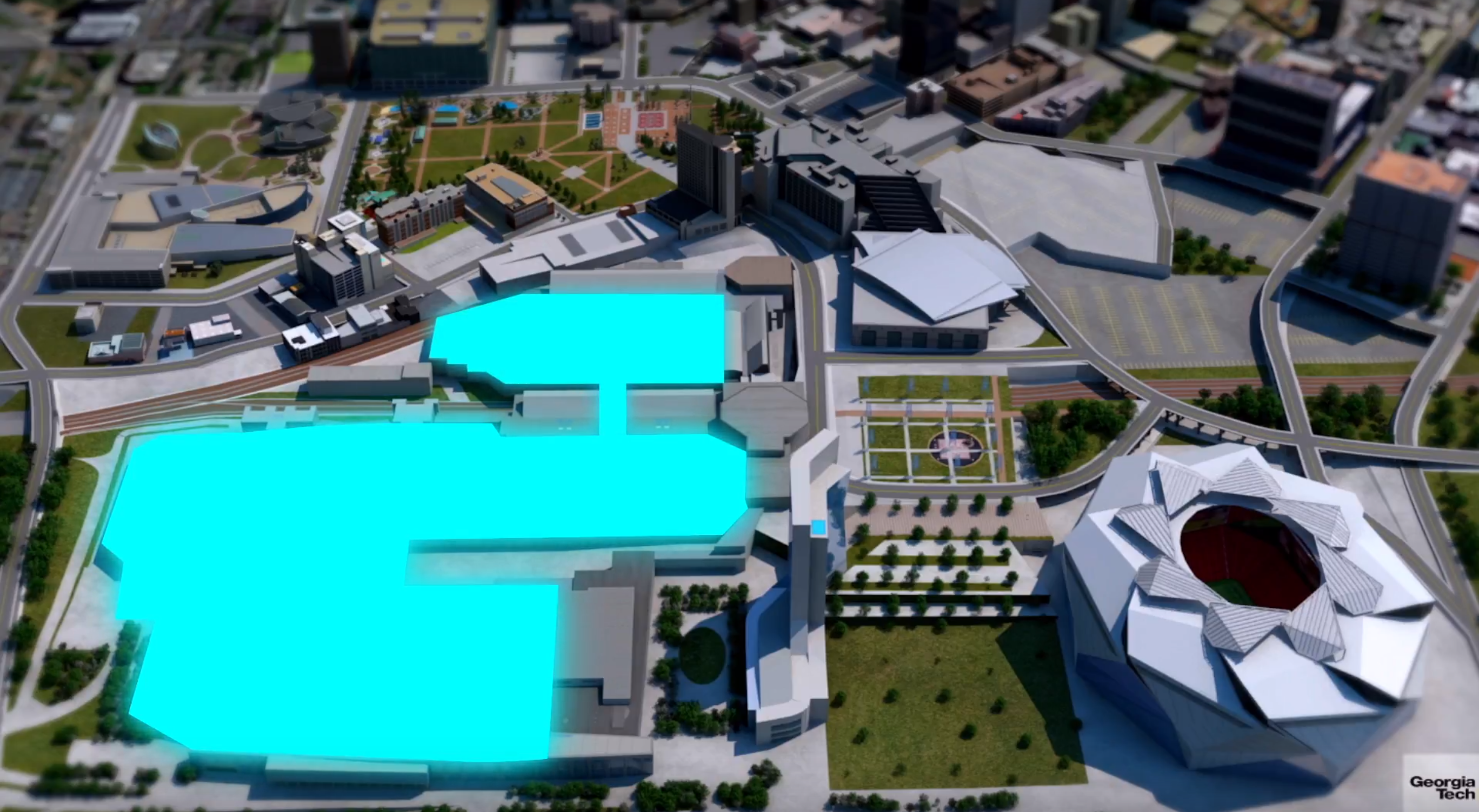 The blue symbolizes all of the connected exhibit space proposed in the expansion, with a new hotel overlooking Mercedes-Benz Stadium's lawn.