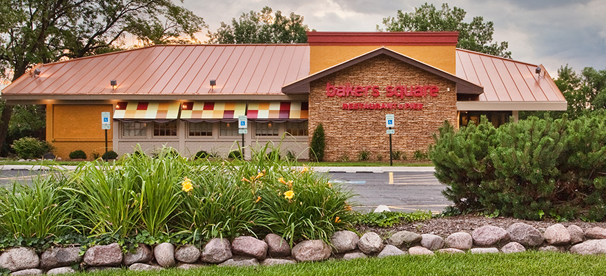 An exterior photo of a Bakers Square restaurant.