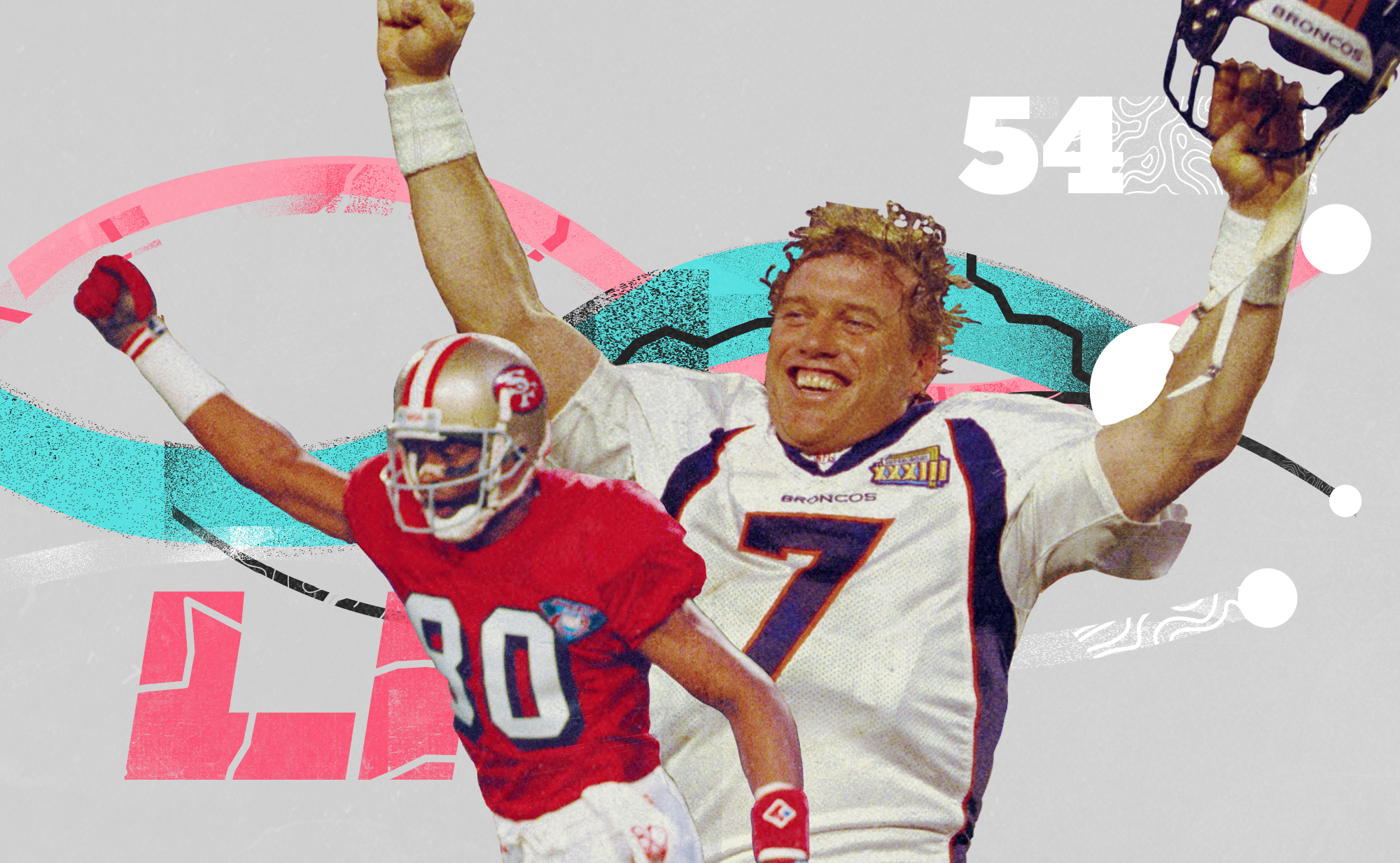 A Super Bowl collage with 49ers WR Jerry Rice and Broncos QB John Elway, superimposed on a white background with pink, teal, and black lines