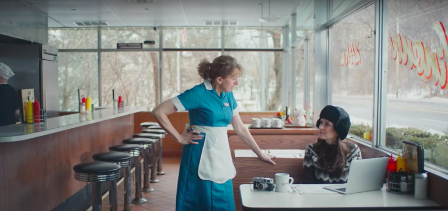 Winona Ryder inside a St. Paul diner