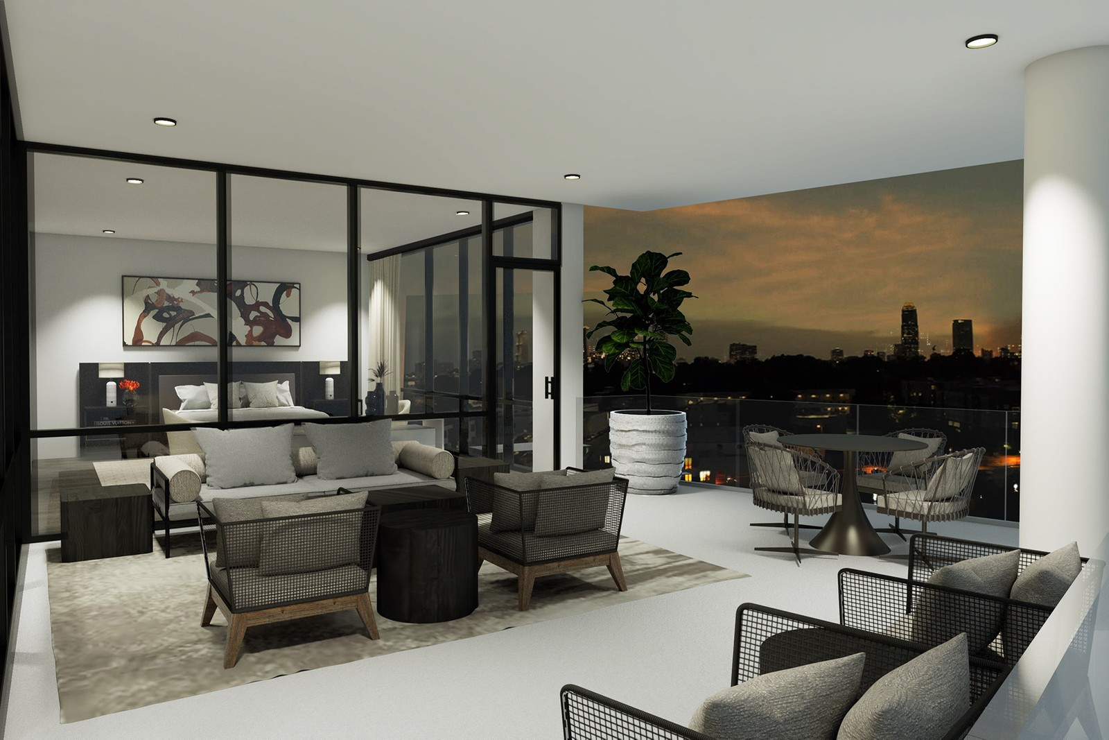 A condo shown in rendering with a huge terrace, bedroom, and city in the distance.
