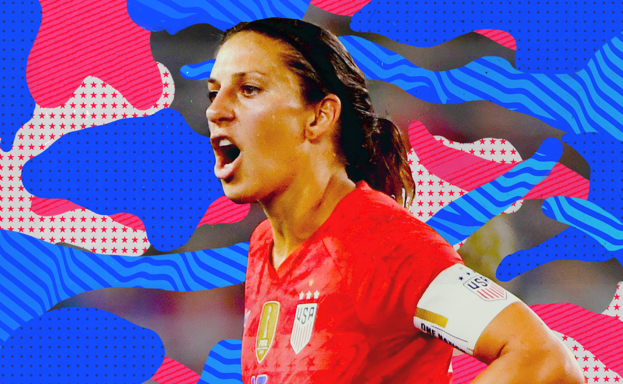 Carli Lloyd reacting after getting a yellow card while playing for the USWNT.