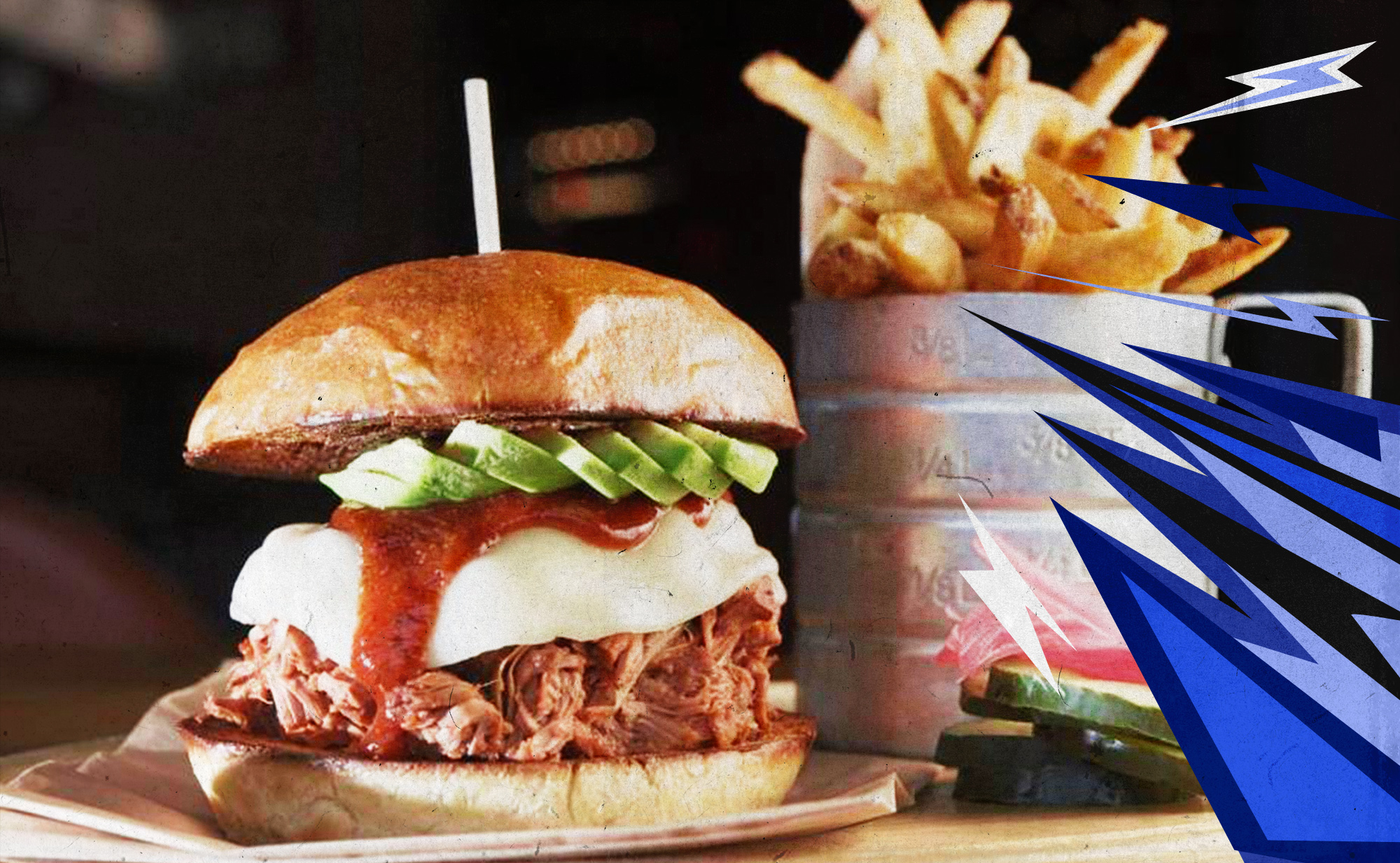 Photo of the Jackknife Sandwich with a side of fries from Char Bar in Kansas City