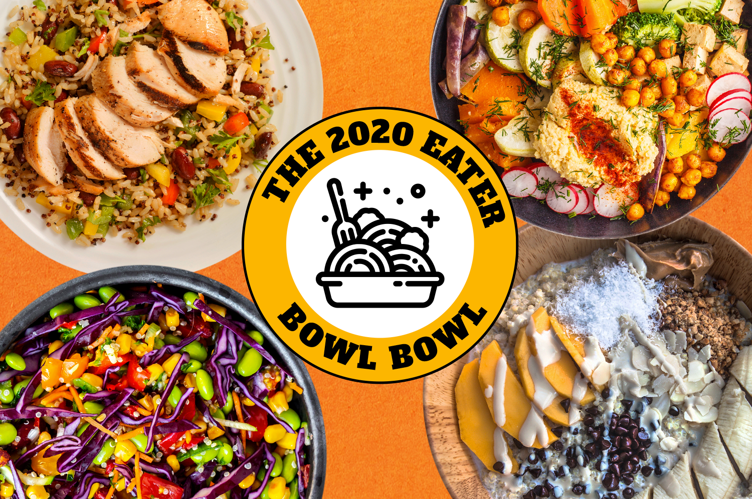 """From above: a chicken and rice bowl, a Mediterranean bowl with chickpeas and hummus, a smoothie bowl with mango slices and coconut, and a colorful veggie bowl with beans and purple cabbage, circled around a badge reading """"The 2020 Eater Bowl Bowl"""" with a black and white bowl drawing in the center."""