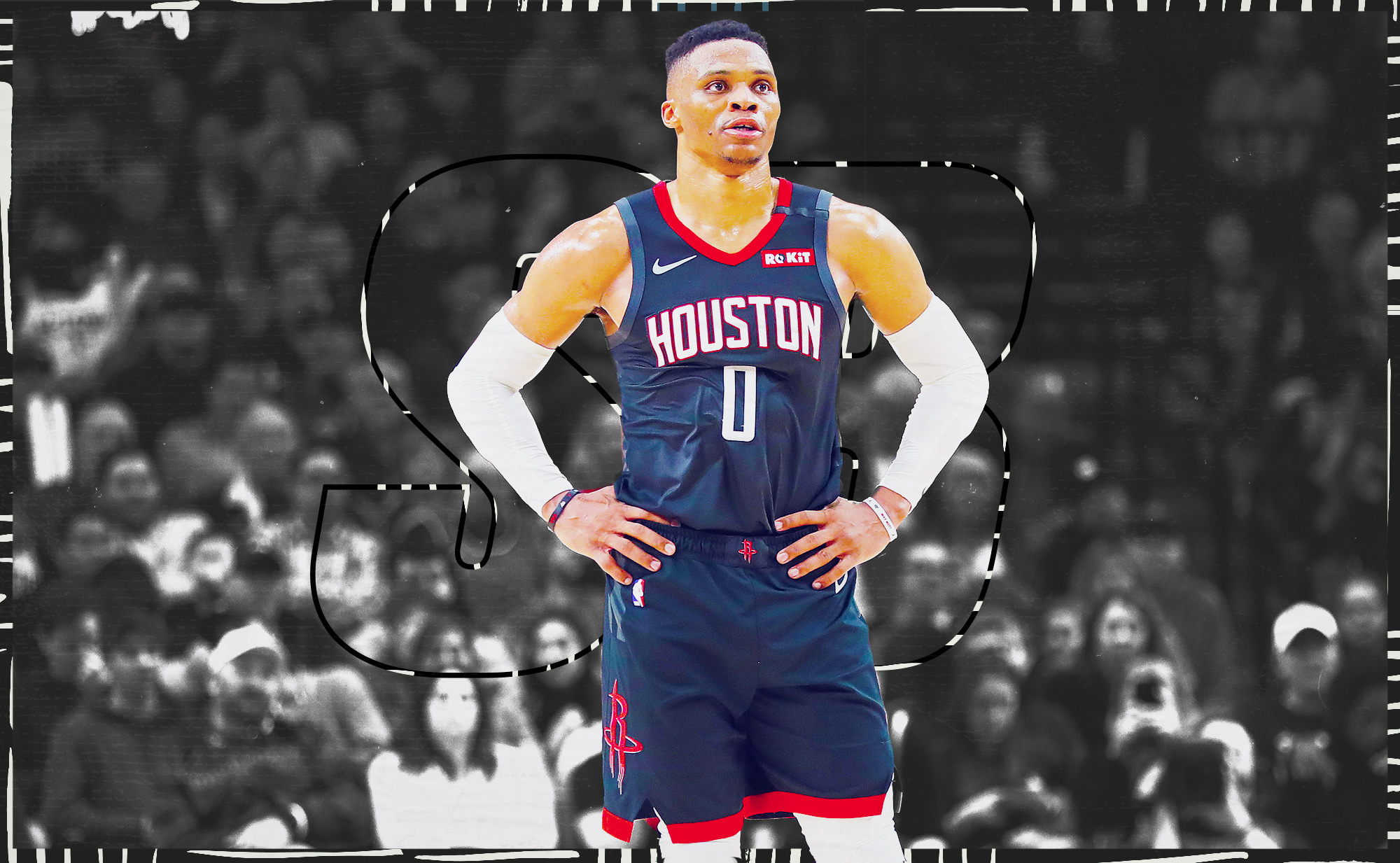 Russell Westbrook stands on the court for the Rockets.