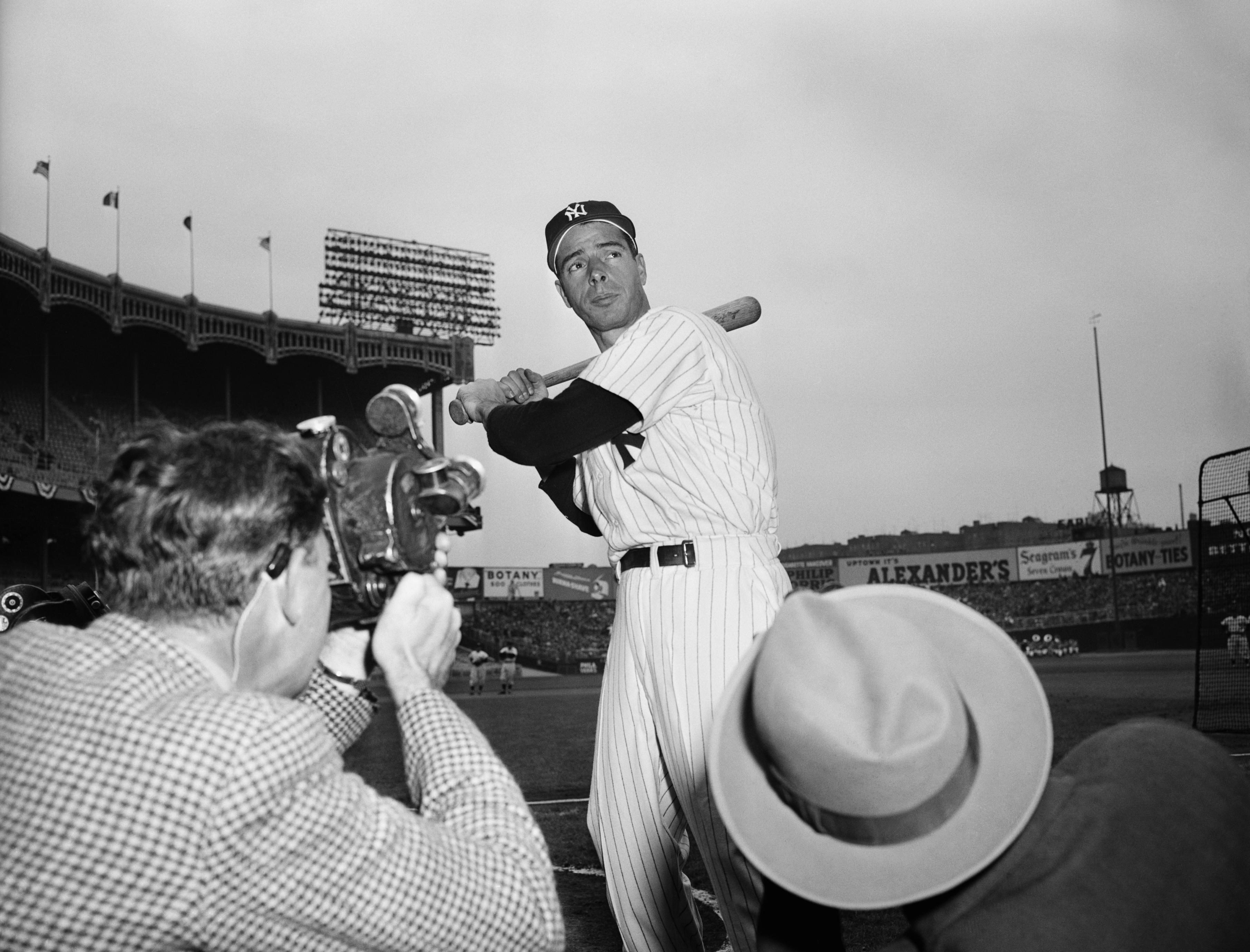 Joe DiMaggio Posing for Photographers