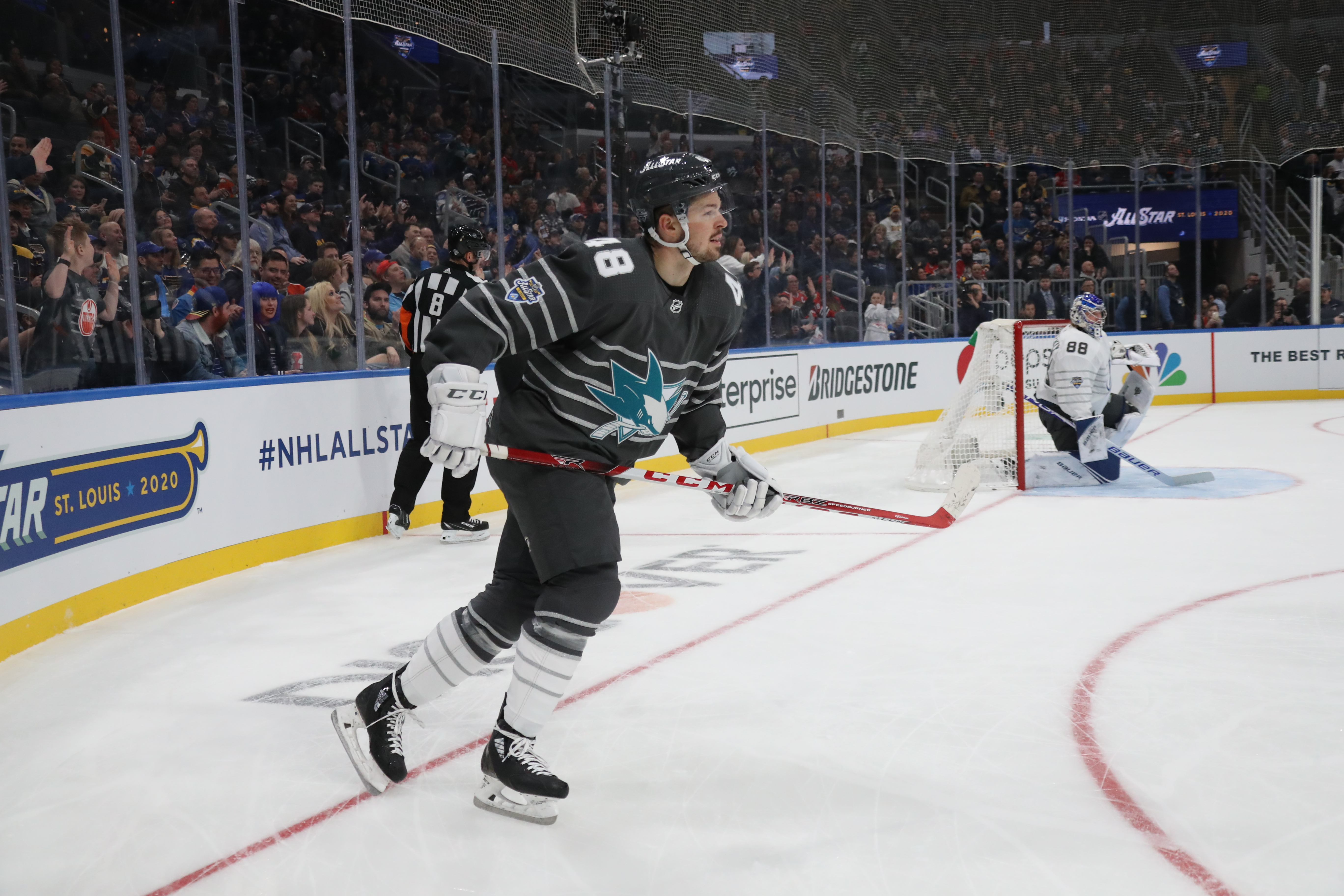 Tomas Hertl #48 of the San Jose Sharks celebrates his game winning goal at 7:24 of the second period during the game between Atlantic Division v Pacific Division during the 2020 Honda NHL All-Star Game at Enterprise Center on January 25, 2020 in St Louis, Missouri.
