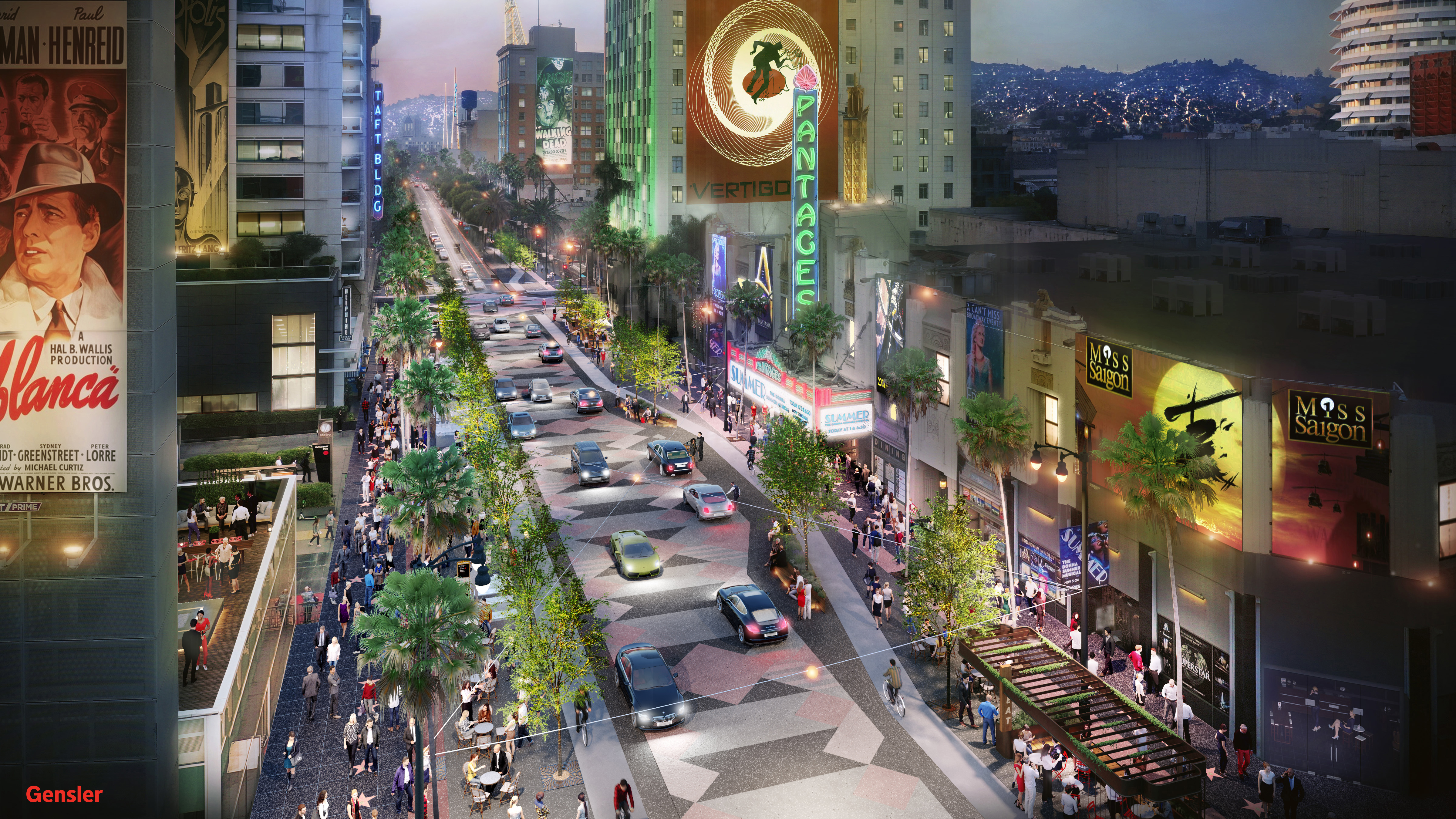 A rendering of Hollywood Boulevard with luxuriously wide sidewalks, a steady stream of street trees, and lots of pedestrians. Also, only two lanes of car traffic.