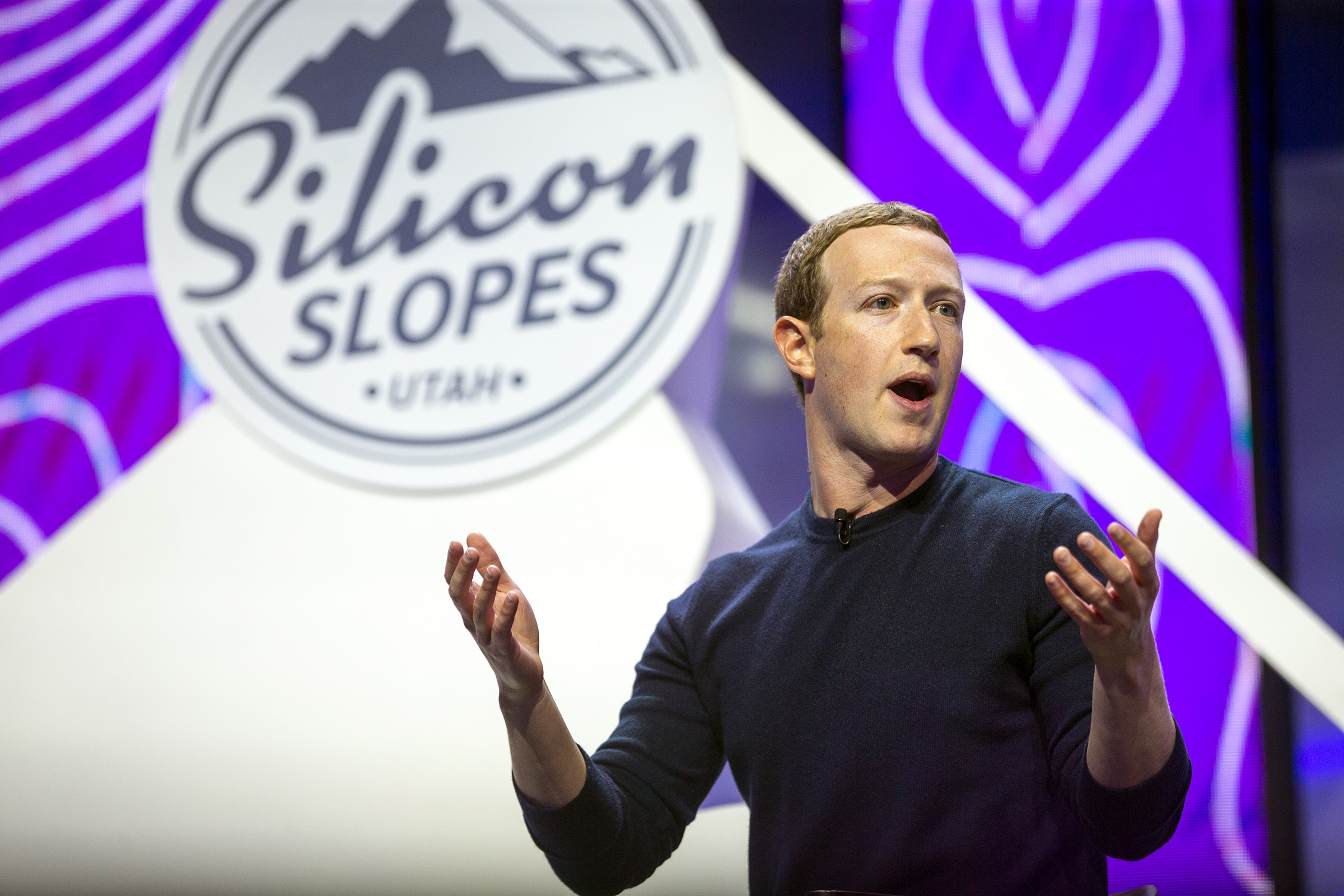 Mark Zuckerberg, founder and CEO of Facebook, speaks at the Silicon Slopes Tech Summit at the Salt Palace Convention Center in Salt Lake City on Friday, Jan. 31, 2020.