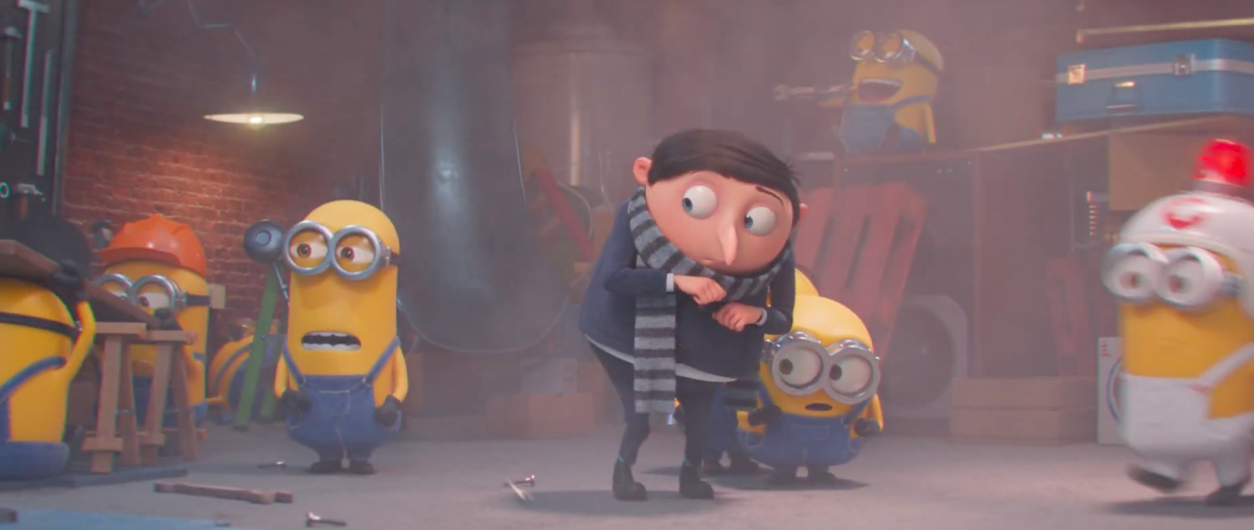 baby gru stands in front of a scared minion