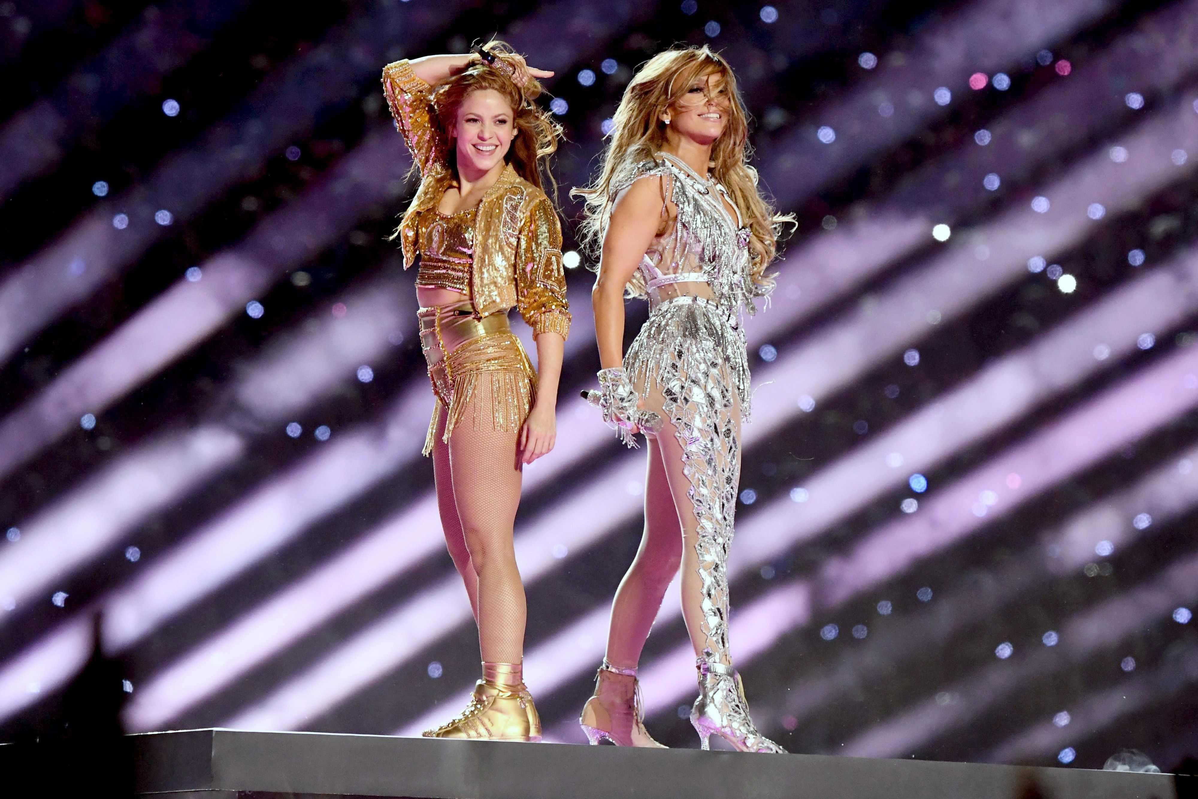 Shakira and Jennifer Lopez performing the 2020 Super Bowl halftime show.